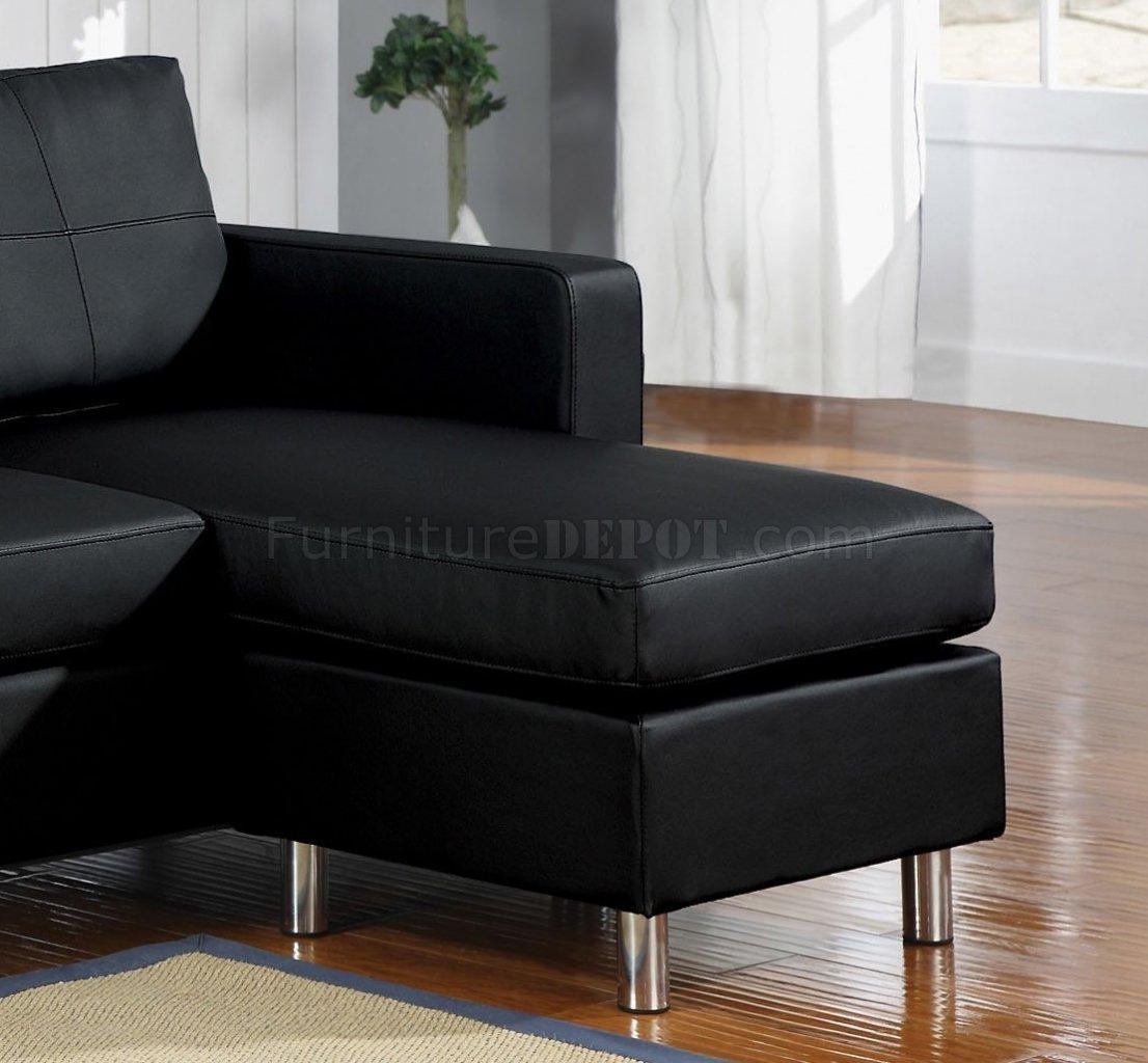 Kemen Sectional Sofa In Black Vinylacme inside Black Vinyl Sofas