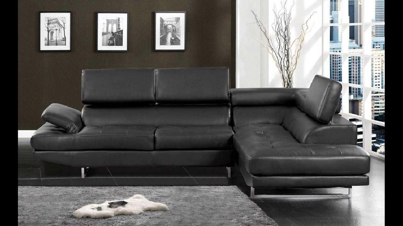 Kemi Modern Style Black Bonded Leather Sectional Sofa With with Black Modern Sectional Sofas