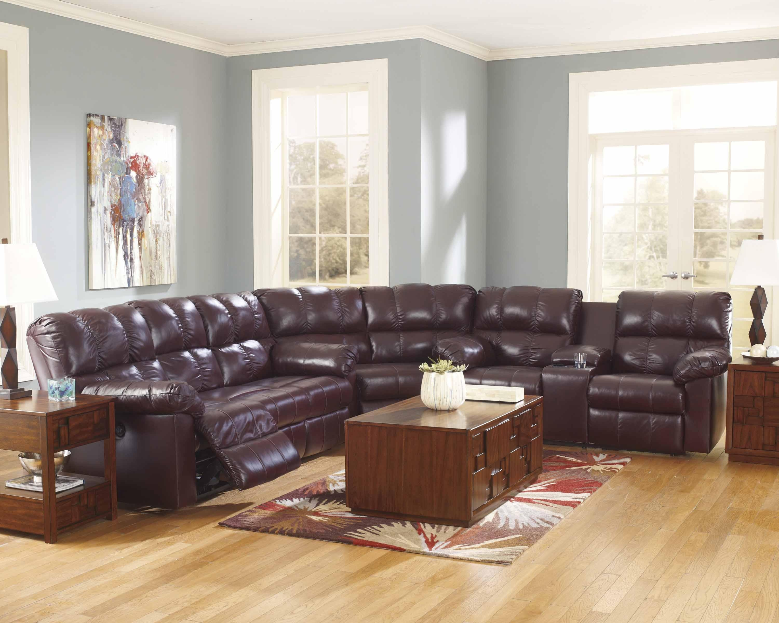 Kennard Power Reclining Sectional Sofa In Burgundy 290 Intended For Burgundy Sectional Sofas (Image 12 of 20)