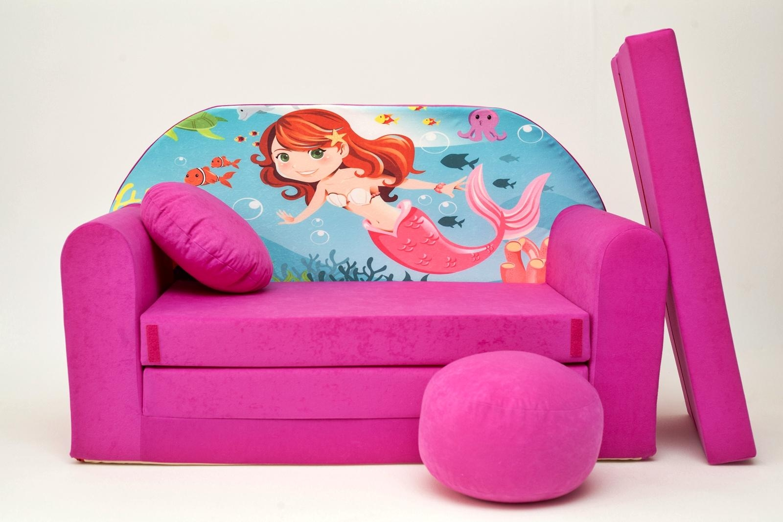 Kids Sofa Bed Childs Furniture + Free Pouffe / Footstool & Pillow In Footstool Pouffe Sofa Folding Bed (Image 9 of 20)