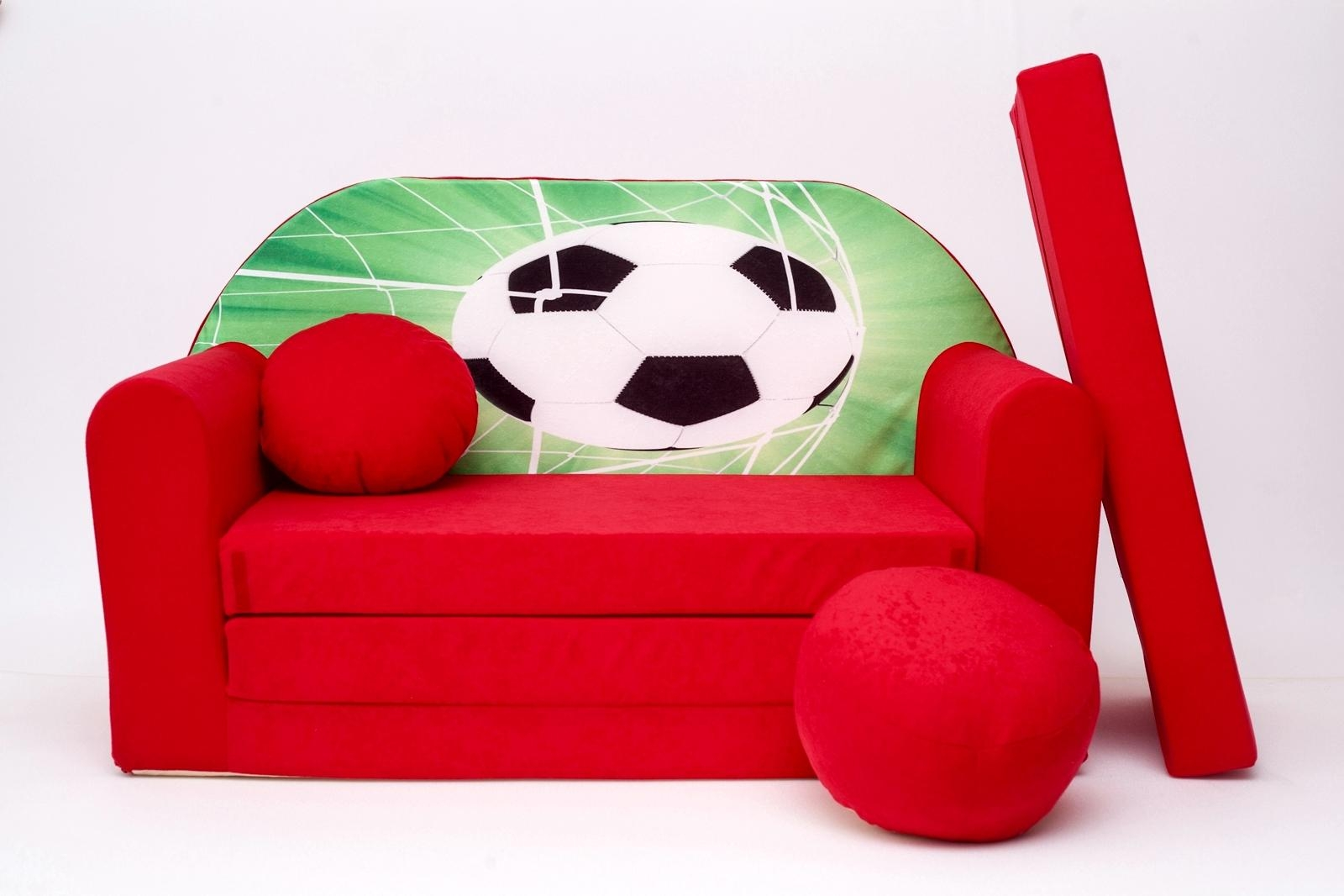 Kids Sofa Bed Childs Furniture + Free Pouffe / Footstool & Pillow Inside Footstool Pouffe Sofa Folding Bed (Image 10 of 20)