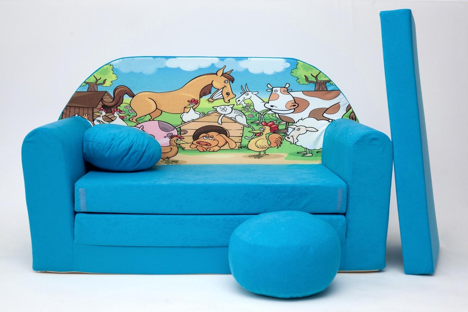 Kids Sofa Bed Childs Furniture + Free Pouffe / Footstool & Pillow Within Footstool Pouffe Sofa Folding Bed (Image 11 of 20)