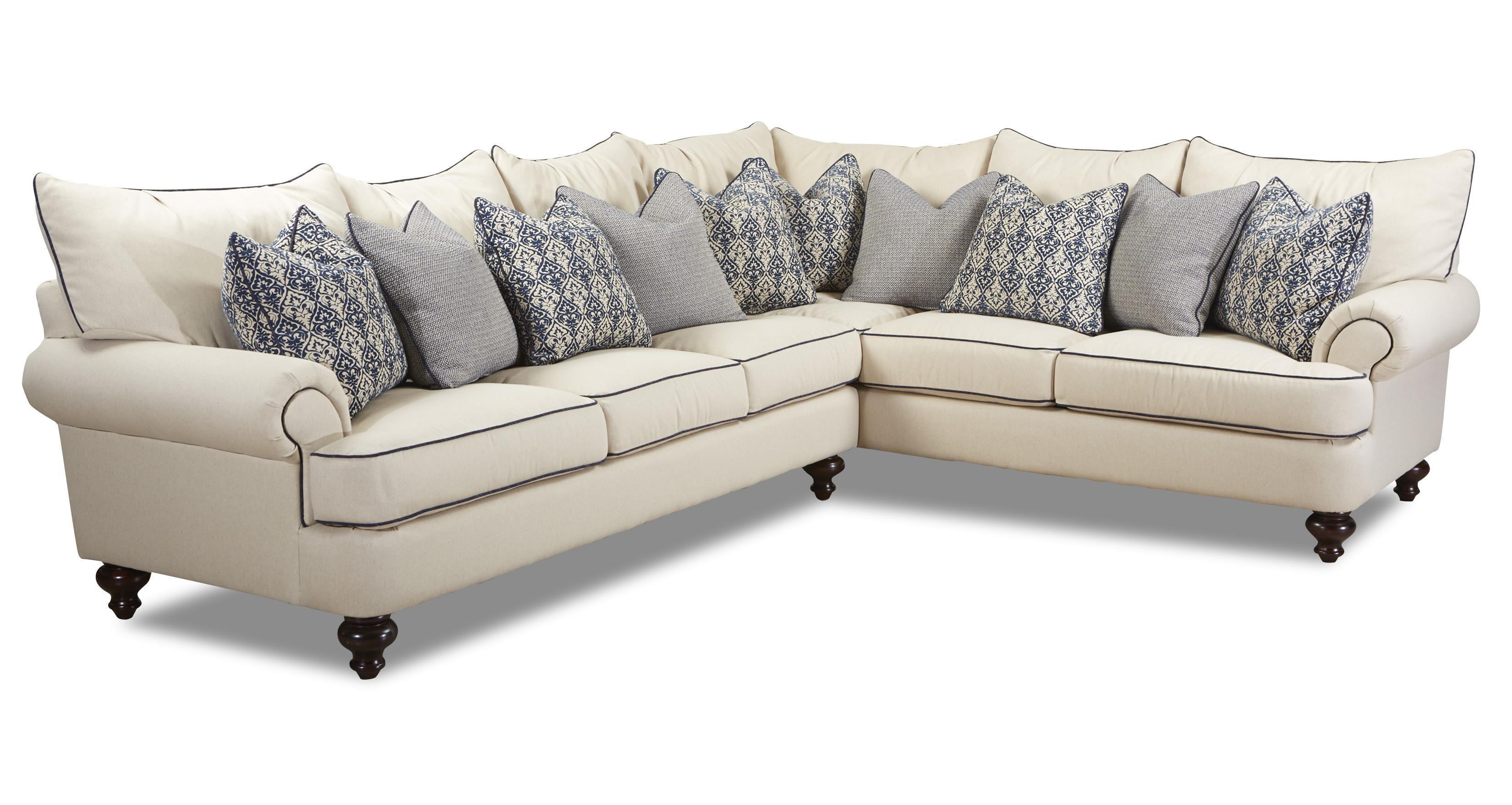 Klaussner Ashworth Shabby Chic Sectional Sofa – Dunk & Bright With Regard To Shabby Chic Sectional Sofas Couches (Image 7 of 21)