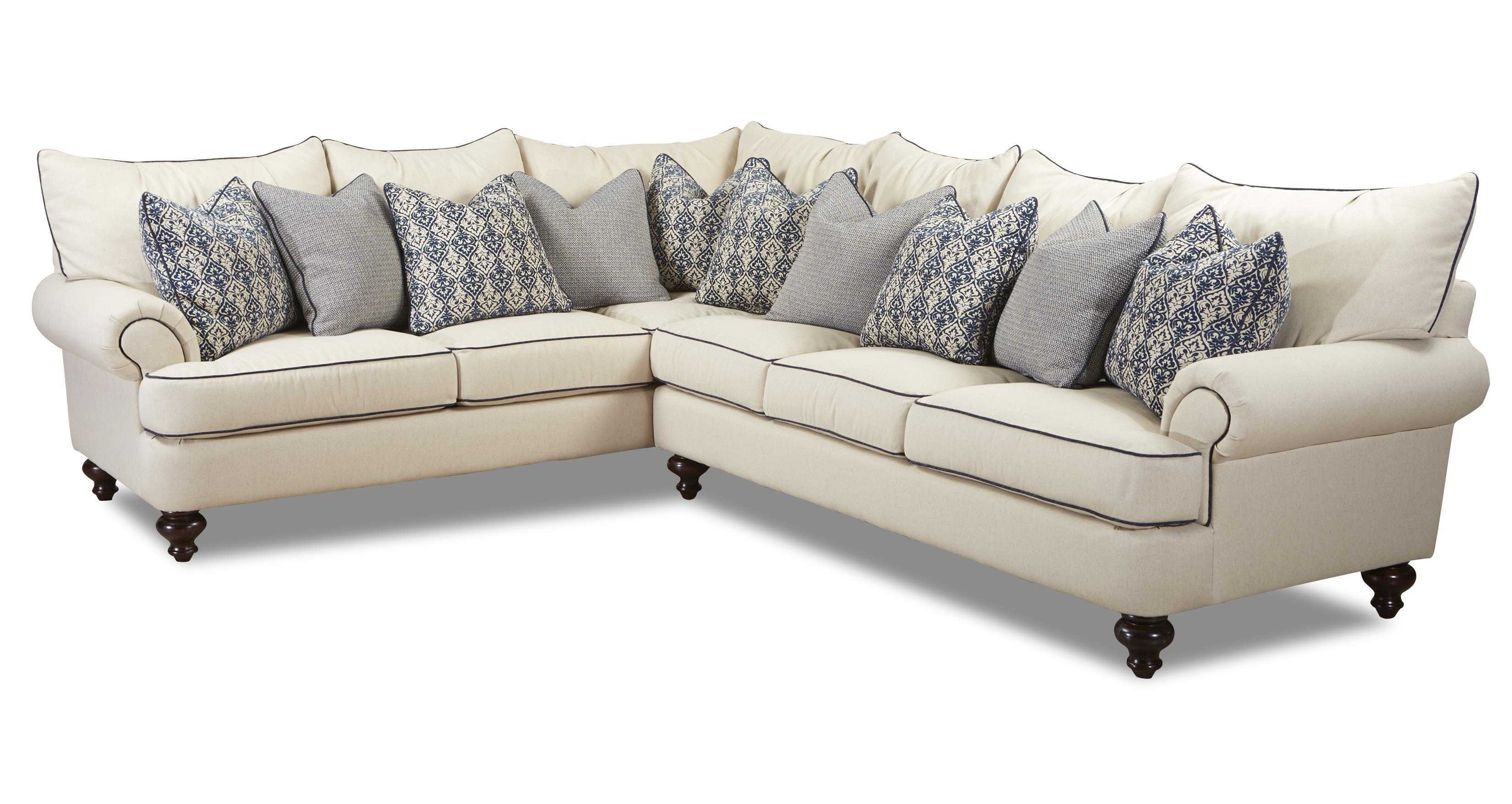 Klaussner Ashworth Shabby Chic Sectional Sofa – Wayside Furniture For Shabby Chic Sectional Sofas Couches (Image 8 of 21)