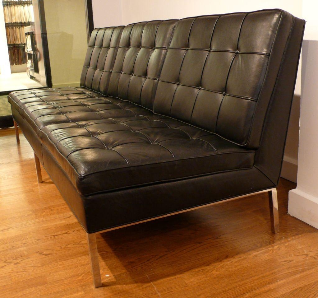 Knoll Armless Sofa In Original Black Leather At 1Stdibs With Florence Leather Sofas (Image 16 of 20)