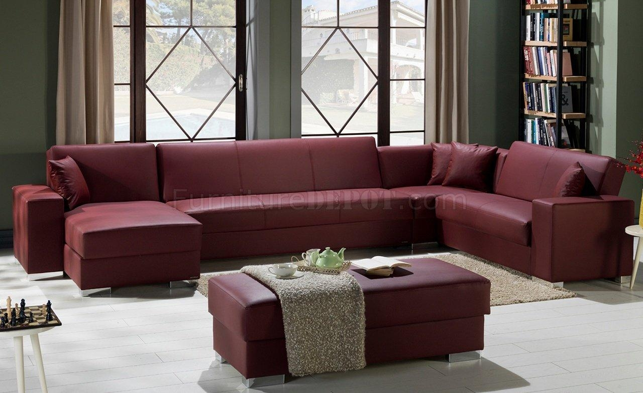Kobe Santa Glory Burgundy Modular Sectional Sofa In Pusunset In Burgundy Sectional Sofas (Image 13 of 20)
