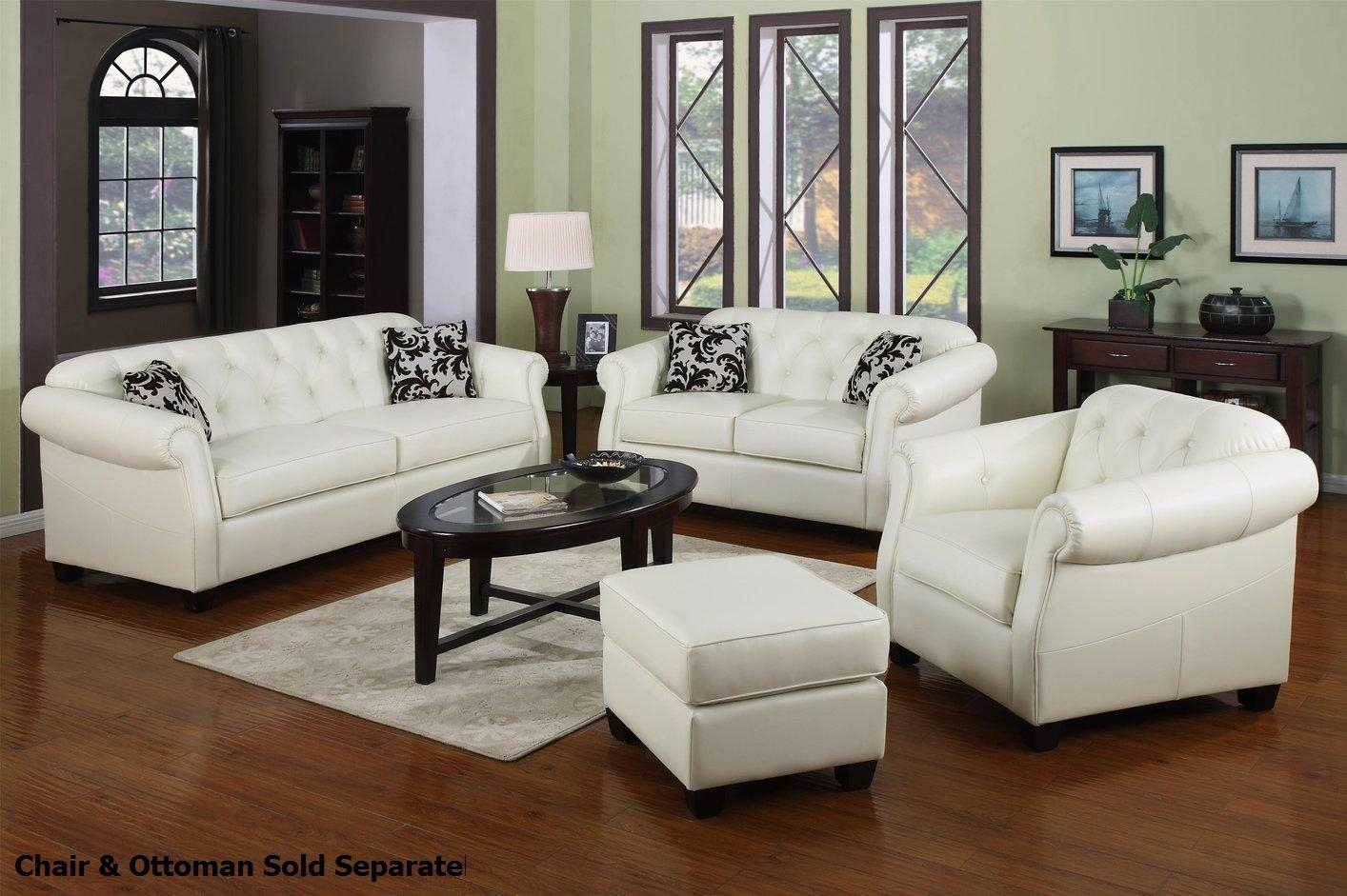 Kristyna White Leather Sofa And Loveseat Set – Steal A Sofa Intended For White Leather Sofas (Image 3 of 20)