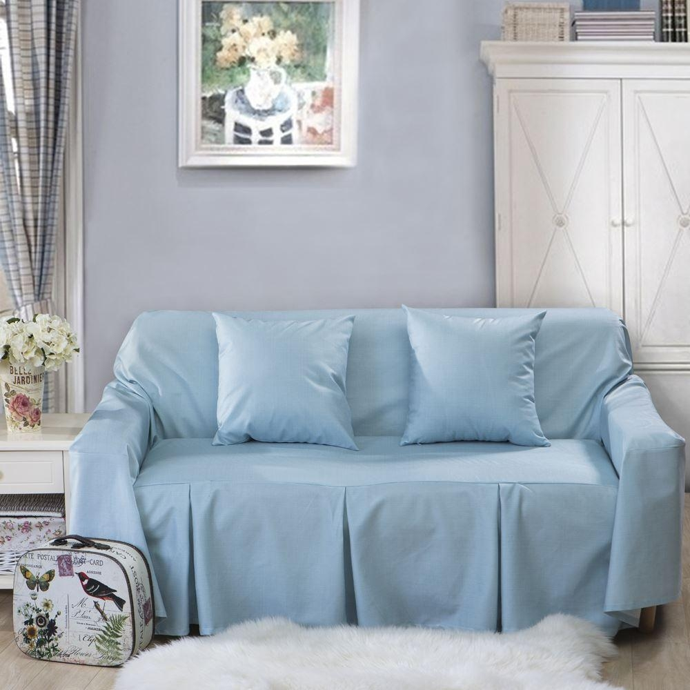 L Shaped Sofa Cover For Home Grey/blue Sofa Slipcover/couch Cover Within Blue Slipcover Sofas (Image 10 of 20)
