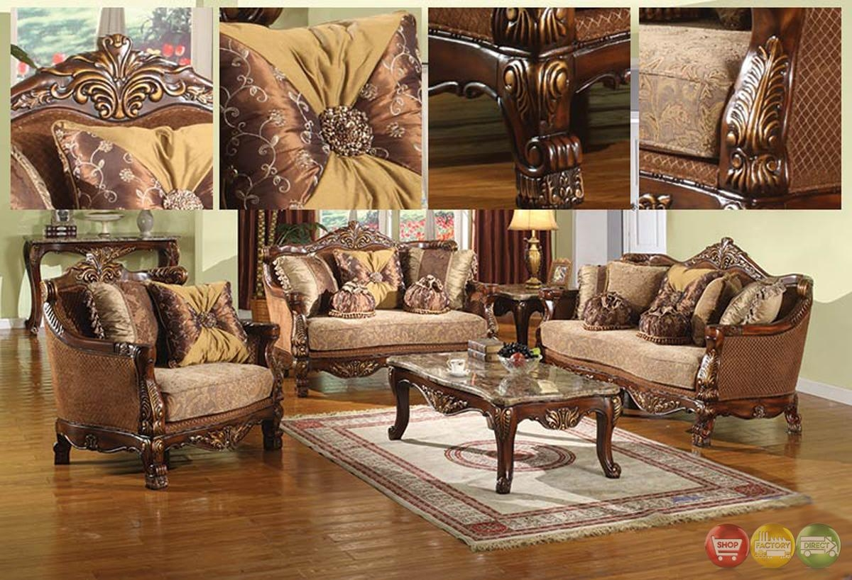 La Petit Traditional Style Living Room Furniture Sofa Set Carved Pertaining To Carved Wood Sofas (Image 13 of 20)