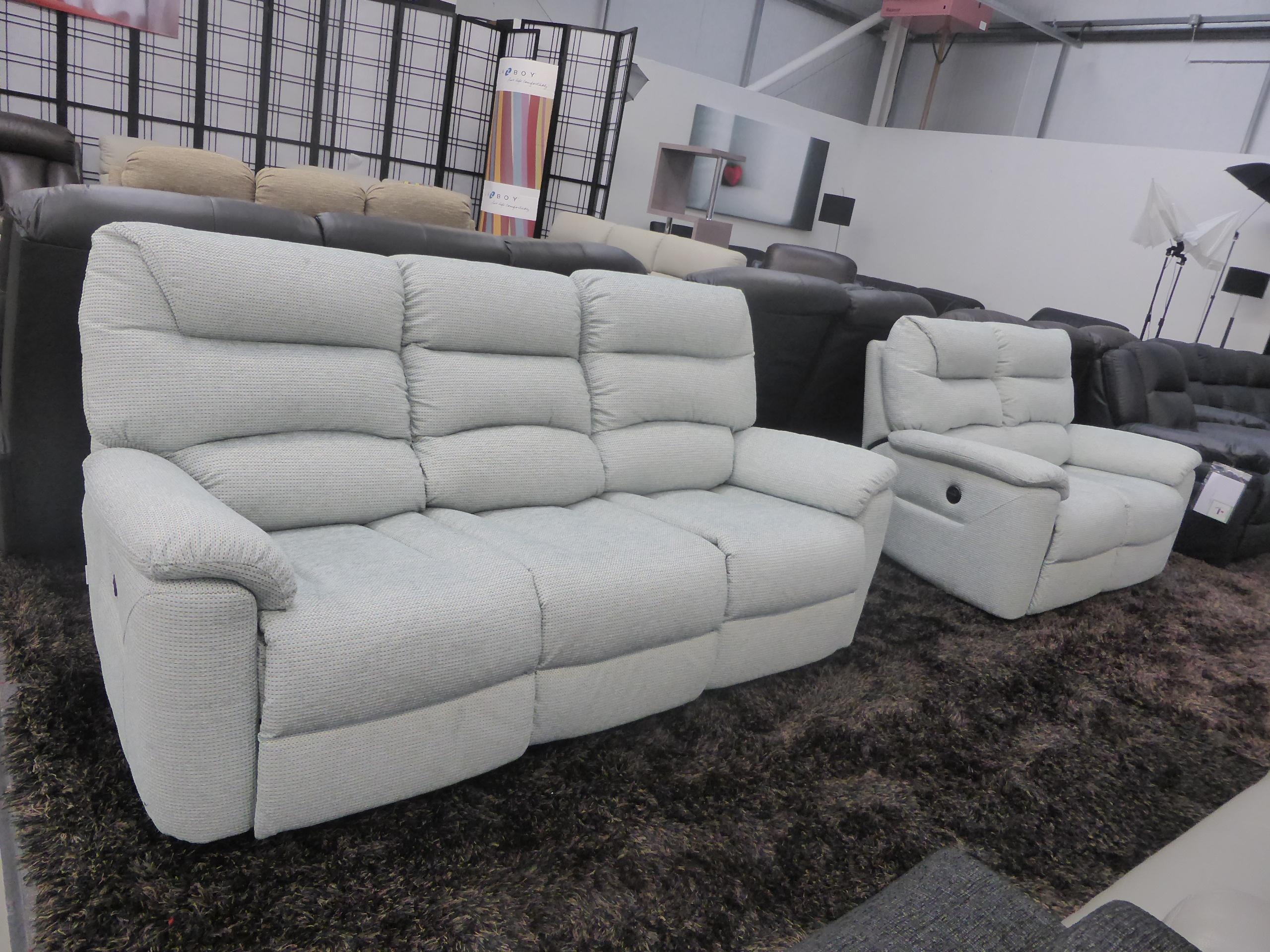 La Z Boy Manhattan 3 & 2 Seater Power Recliners In Fabric Inside Lazy Boy Manhattan Sofas (Image 3 of 21)