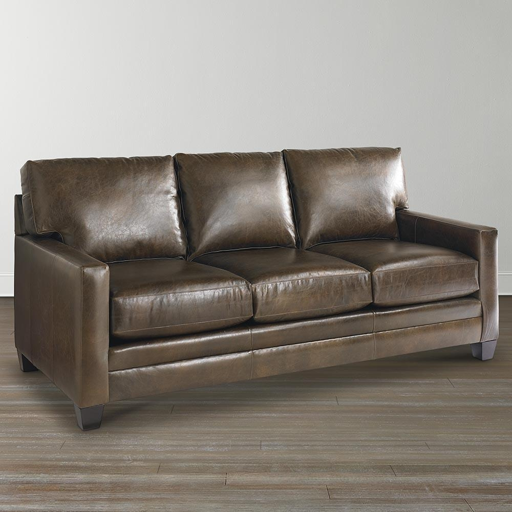 Ladson Leather Queen Sleeper Sofa | Bassett Home Furnishings Intended For Queen Convertible Sofas (Image 7 of 20)