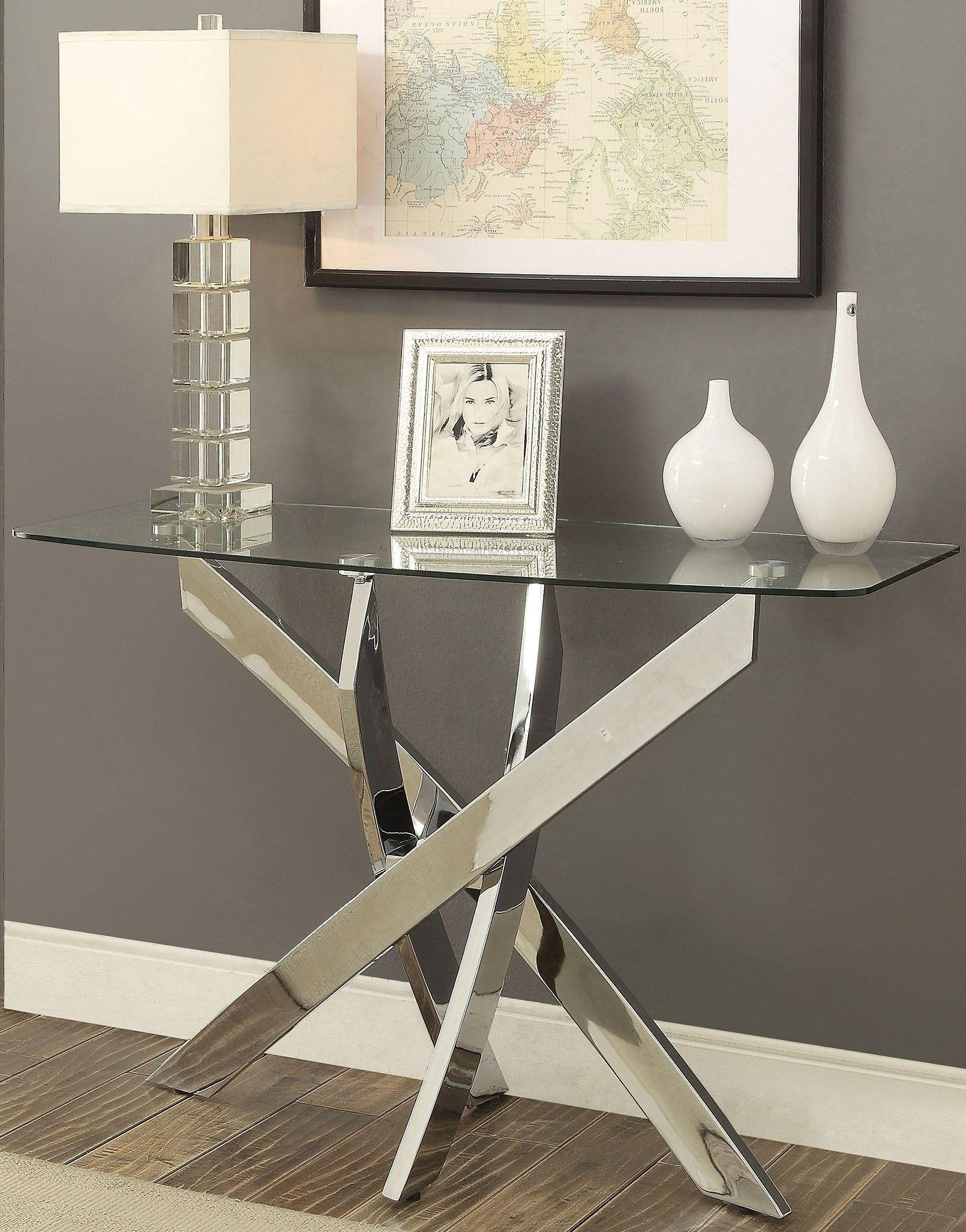 Laila Chrome Sofa Table From Furniture Of America | Coleman Furniture With Regard To Chrome Sofa Tables (Image 12 of 20)