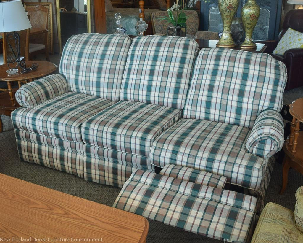 Lane Plaid Reclining Sofa | New England Home Furniture Consignment With Regard To Blue Plaid Sofas (Image 10 of 20)