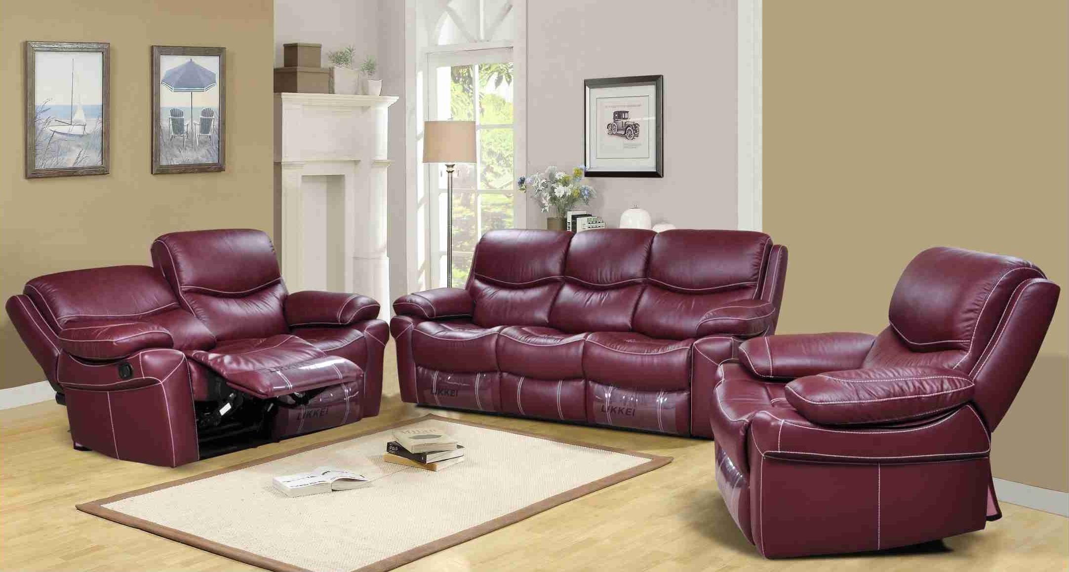 Langdon Burgundy Genuine Leather Power Reclining Sofa Set • Usa Inside Burgundy Leather Sofa Sets (Image 18 of 20)