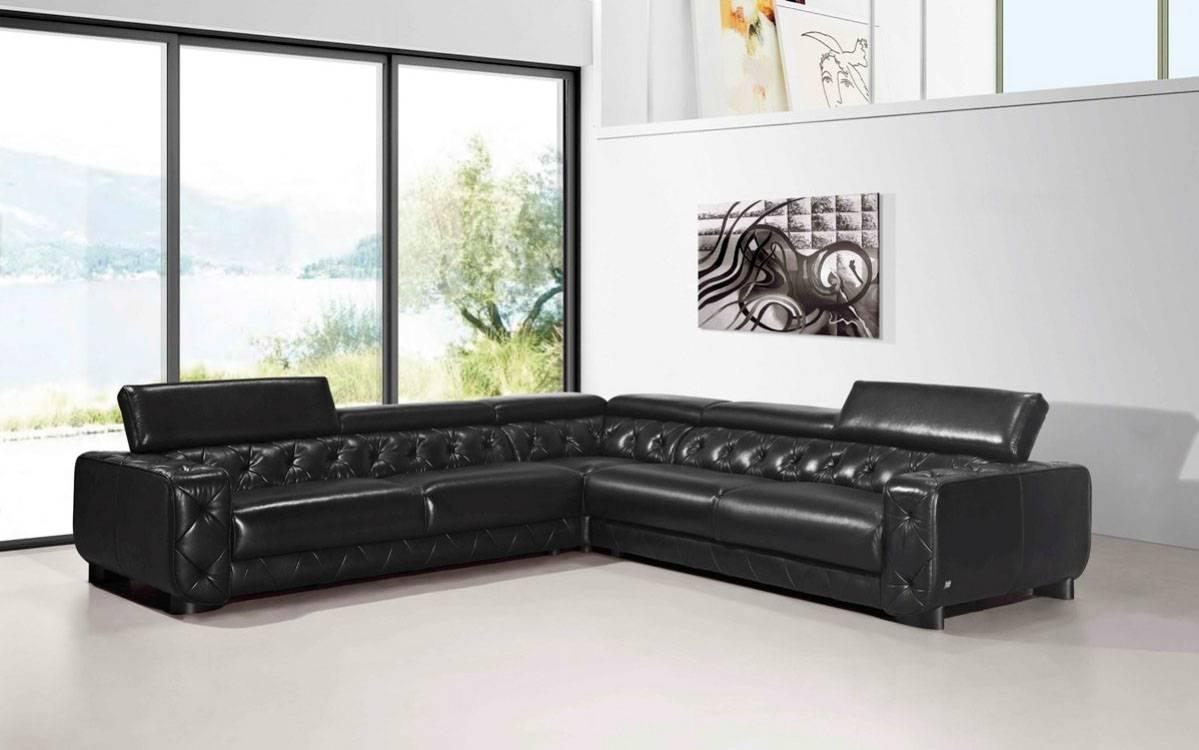 Large Contemporary Black Tufted Genuine Leather Sectional Sofa Las Intended For Large Leather Sectional (View 15 of 20)