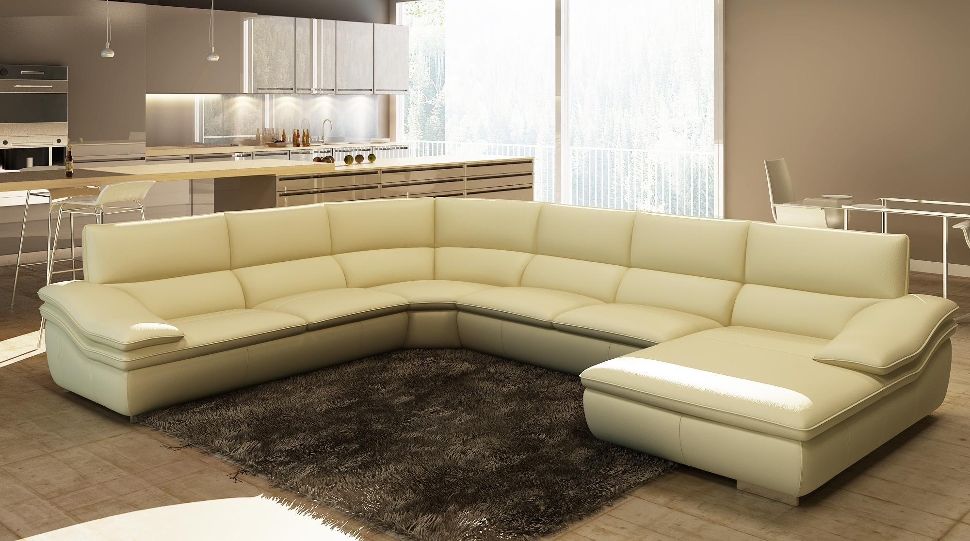 Large Leather Sectional Sofa ~ Uballs Throughout U Shaped Leather Sectional Sofa (Image 14 of 20)
