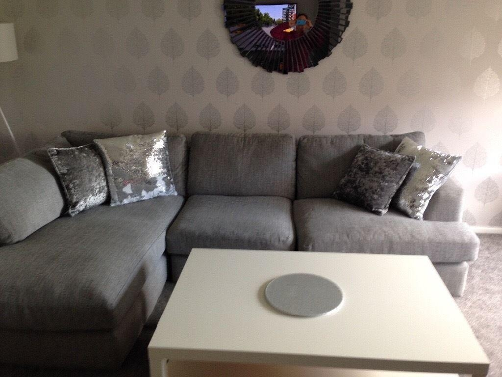 Large Next Grey Corner Sofa With Matching Swivel Chair | In East Throughout Corner Sofa And Swivel Chairs (Image 17 of 20)