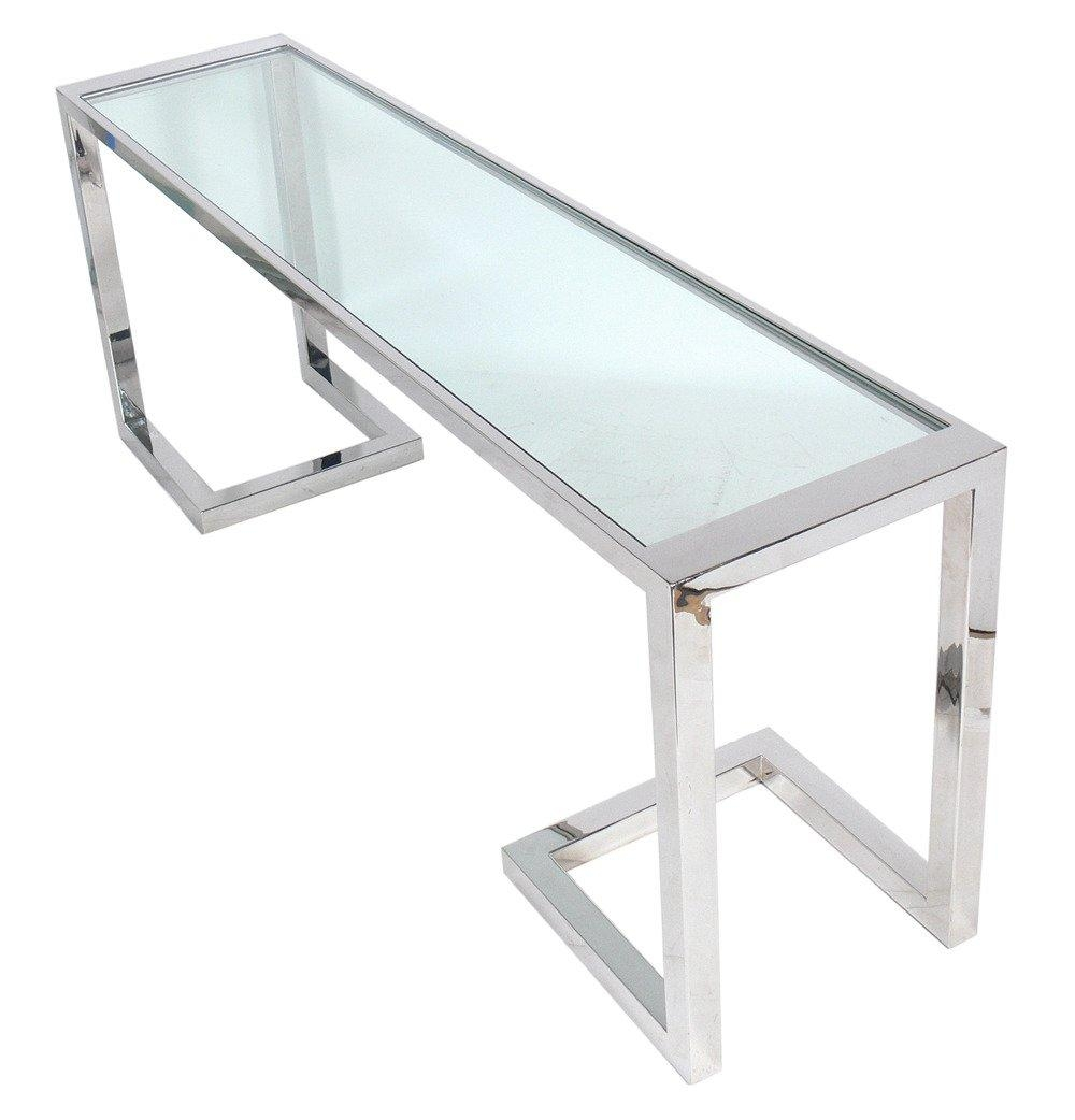 Large Scale Chrome And Glass Console Table Or Desk At 1Stdibs With Chrome Sofa Tables (Image 13 of 20)