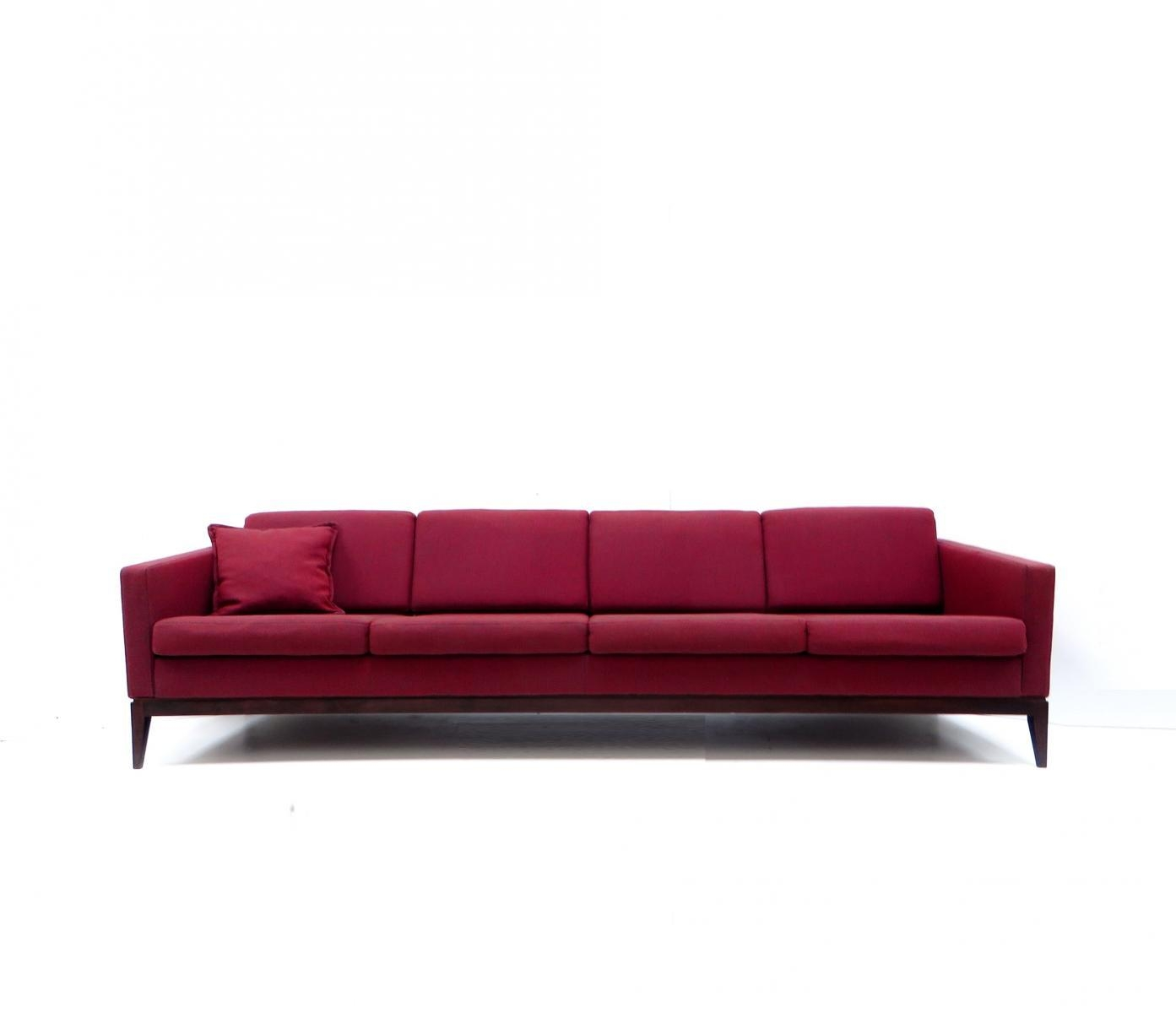 Large Vintage Burgundy Four Seater Sofa For Sale At Pamono For Four Seater Sofas (Image 12 of 20)