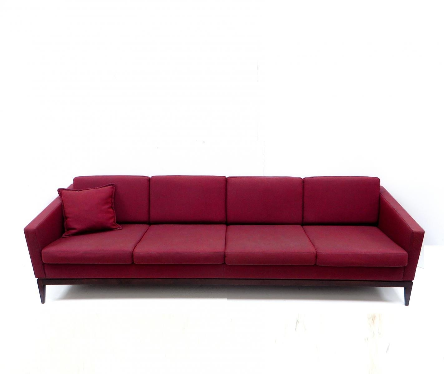 Large Vintage Burgundy Four Seater Sofa For Sale At Pamono Throughout Four Seater Sofas (Image 13 of 20)