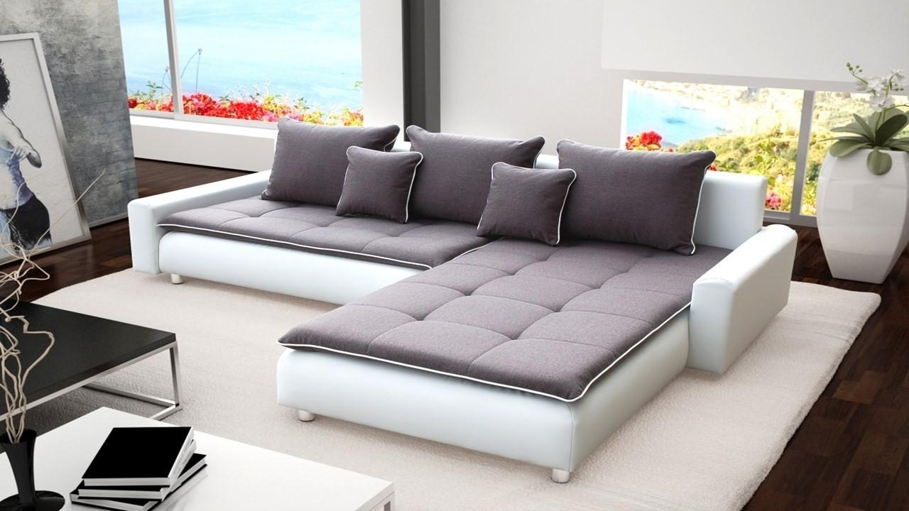 Large White Faux Leather & Grey Fabric Corner Sofa – Homegenies Inside White Leather Corner Sofa (Image 7 of 20)