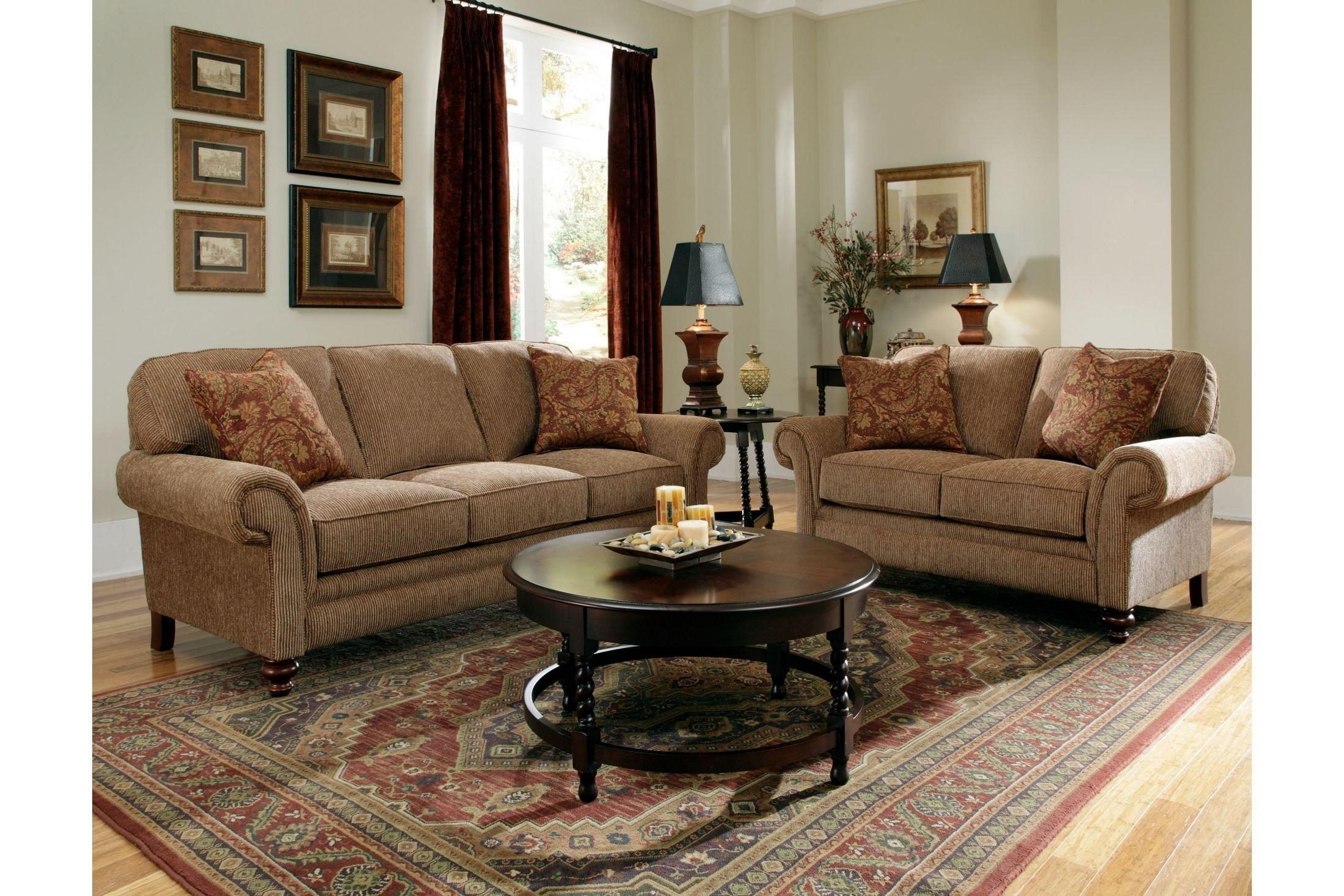 Larissa Cherry Stain Chenille Fabric Sofa From Broyhill (6112 3Q1 Inside Broyhill Emily Sofas (Image 19 of 20)