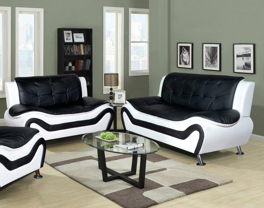 Latitude Run Algarve Leather Sofa And Loveseat Set & Reviews | Wayfair With Regard To Black Leather Sofas And Loveseat Sets (Image 17 of 20)