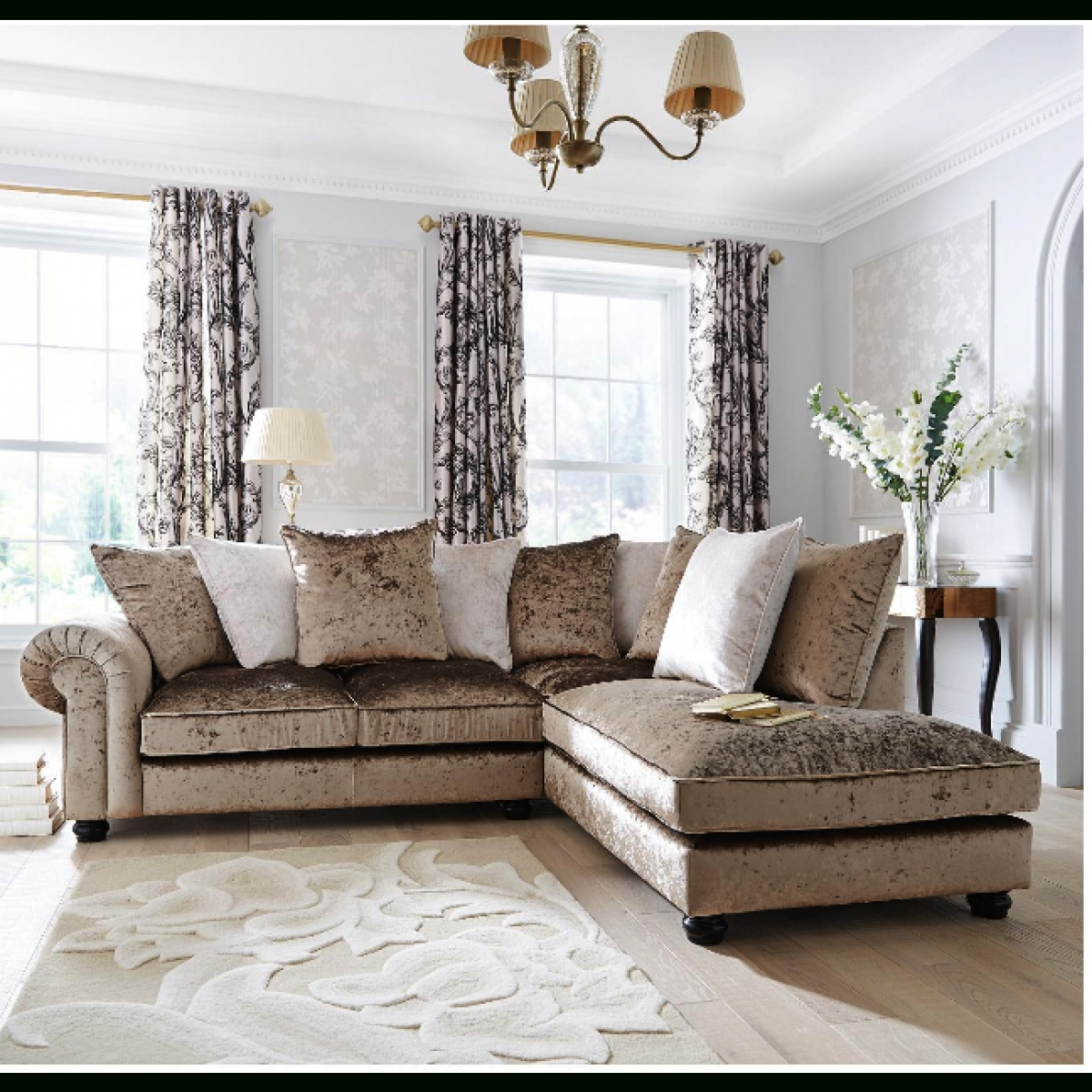 Laurence Llewelyn Bowen Scarpa Right Hand Fabric Corner Chaise Inside Fabric Corner Sofa Bed (Image 11 of 20)