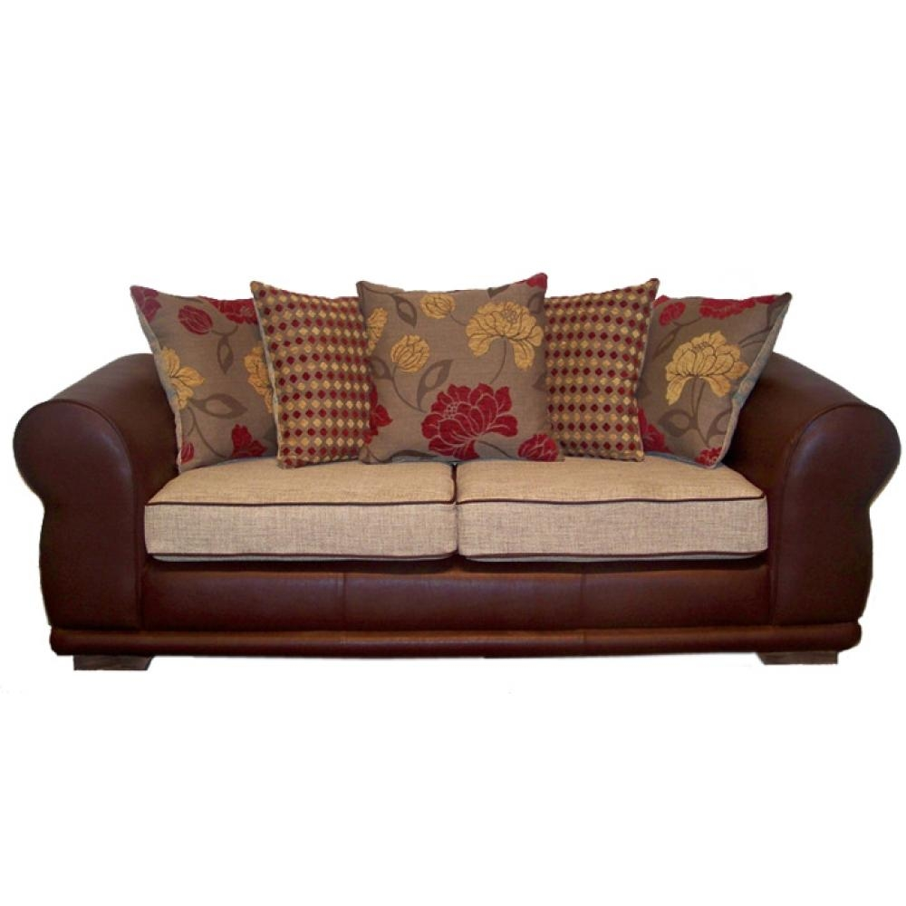 Leather And Fabric Sofas 82 With Leather And Fabric Sofas With Regard To Leather And Cloth Sofa (Image 9 of 20)