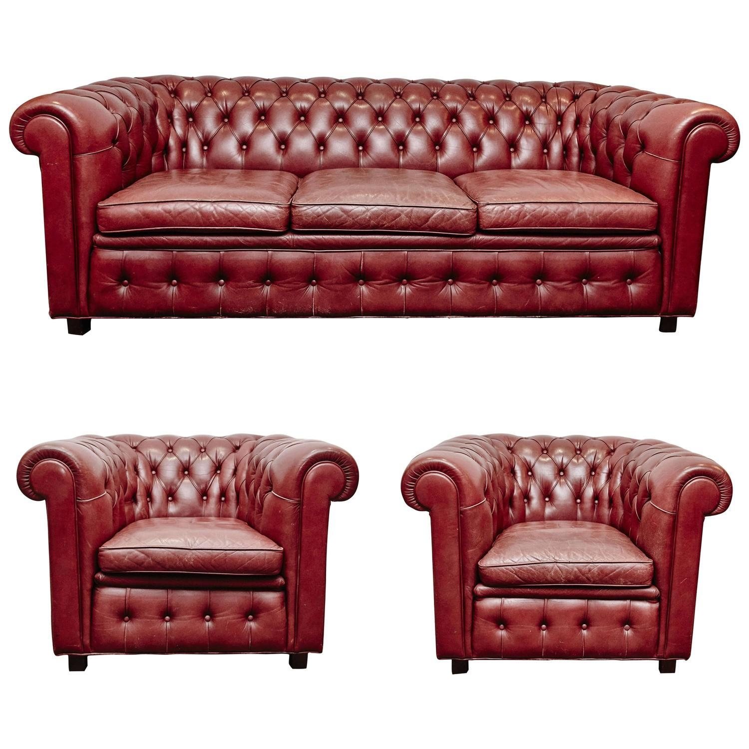 Leather Chesterfield Sofa And Pair Of Armchairsarne Norell At With Red Chesterfield Chairs (Image 14 of 20)