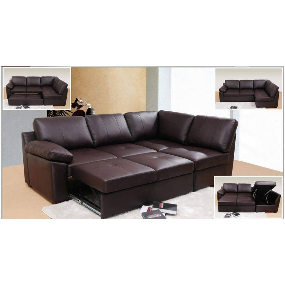 Leather Corner Sofa Bed | Tehranmix Decoration Within Leather Sofa Beds With Storage (Image 13 of 20)