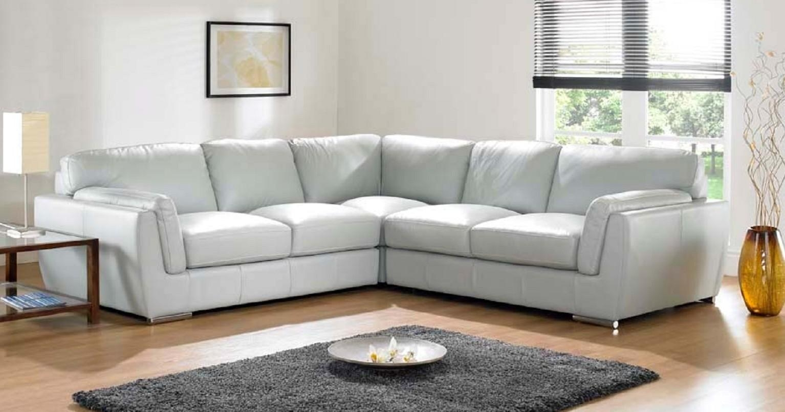 Leather Corner Sofa Grey | Tehranmix Decoration Regarding White Leather Corner Sofa (View 13 of 20)