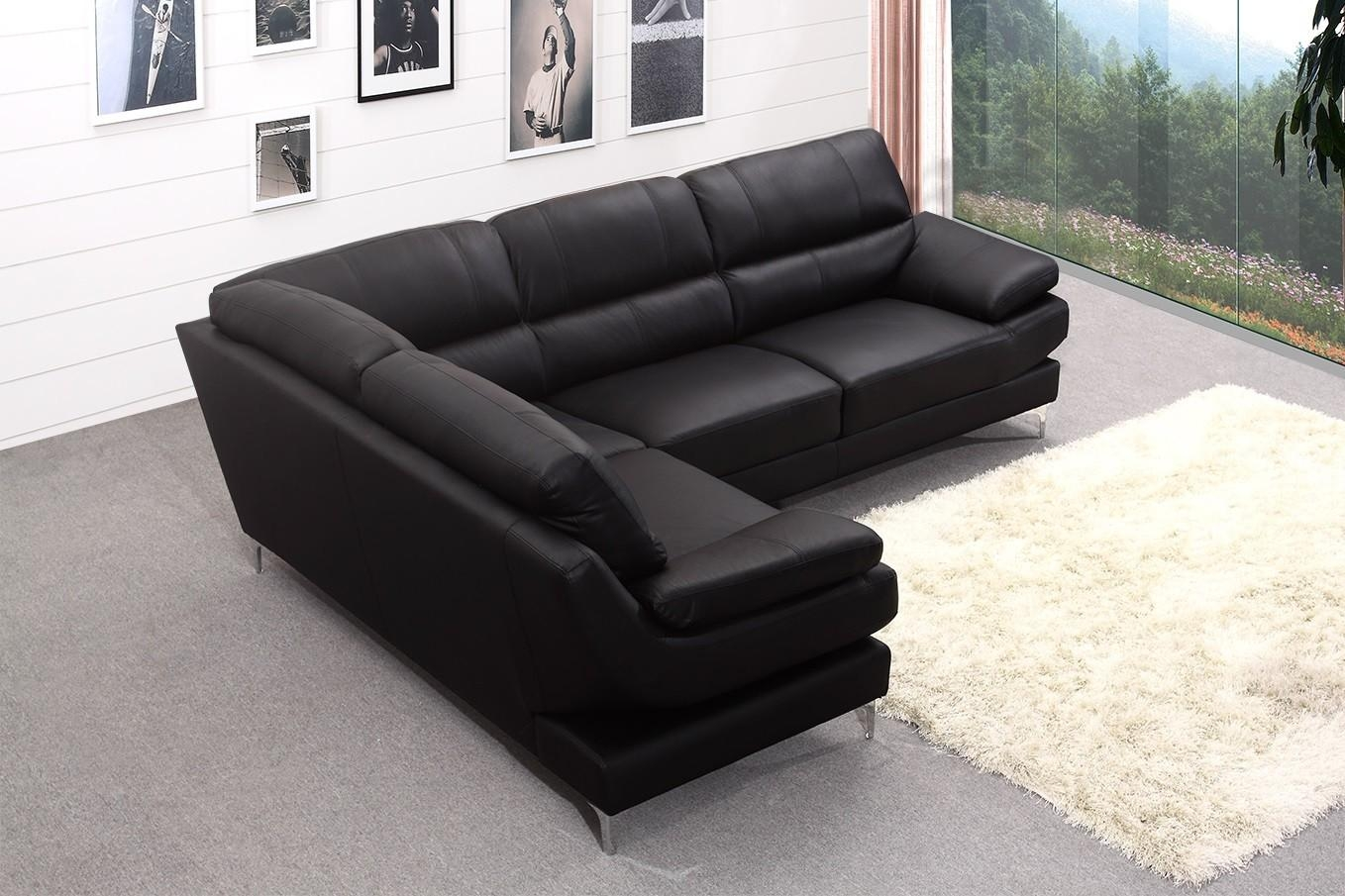 20 choices of black leather corner sofas sofa ideas for Black corner sofa