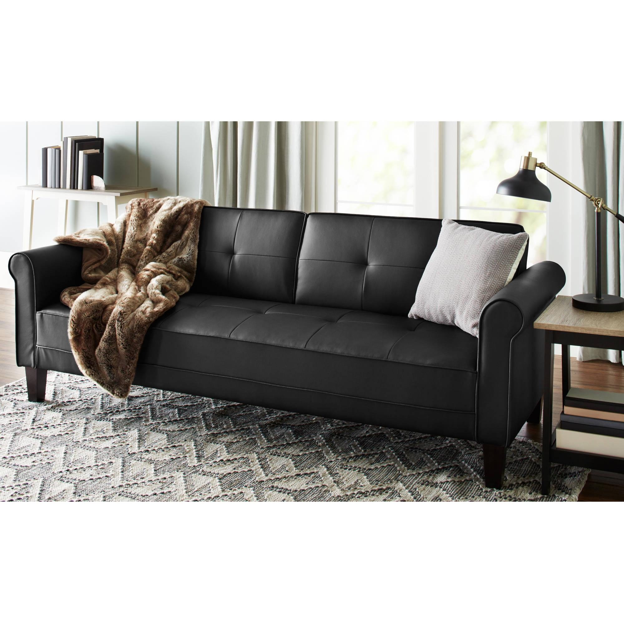 Leather Faux Fold Down Futon Sofa Bed Couch Sleeper Furniture For Faux Leather Futon Sofas (Image 9 of 20)