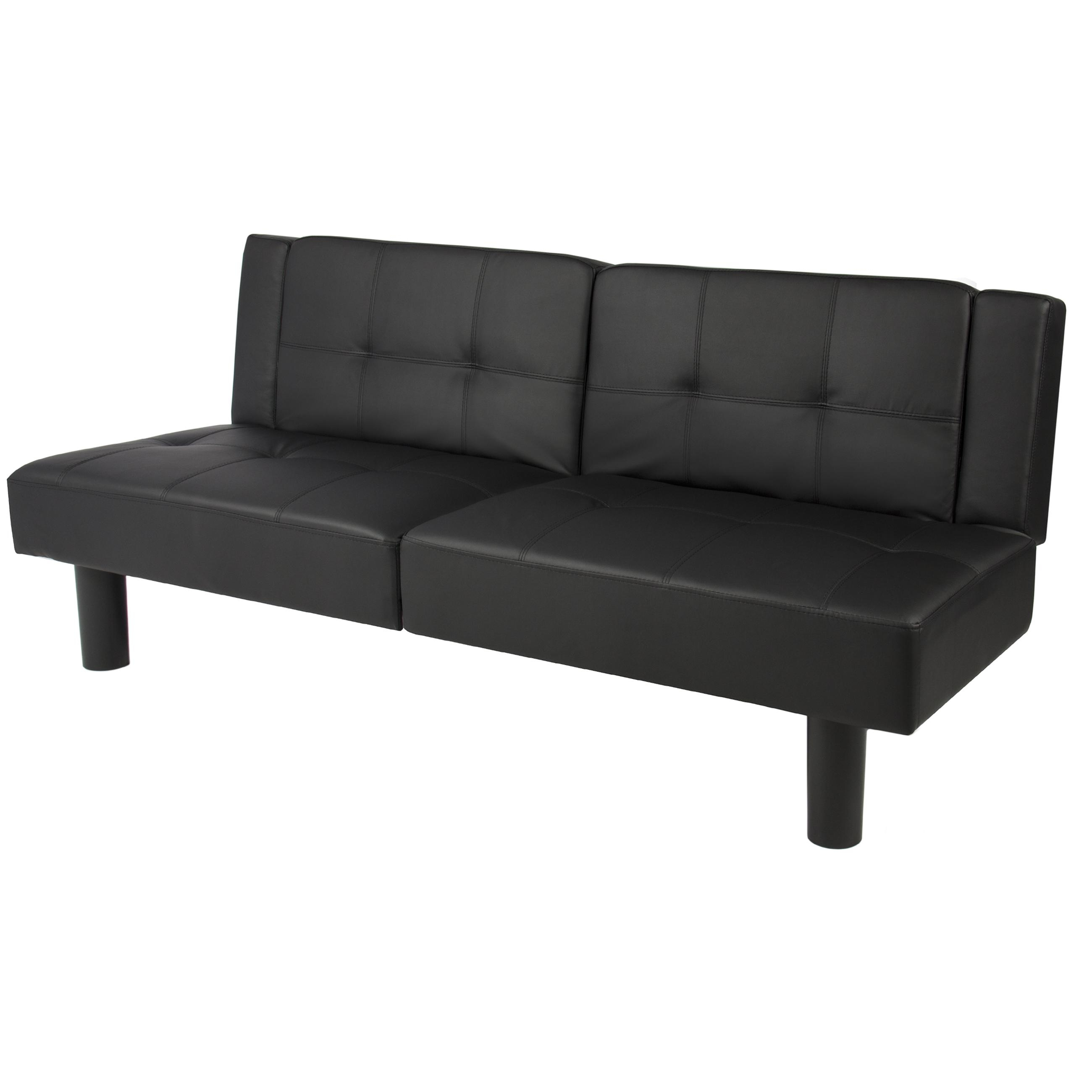 Leather Faux Fold Down Futon Sofa Bed Couch Sleeper Furniture Regarding Convertible Futon Sofa Beds (Image 15 of 20)