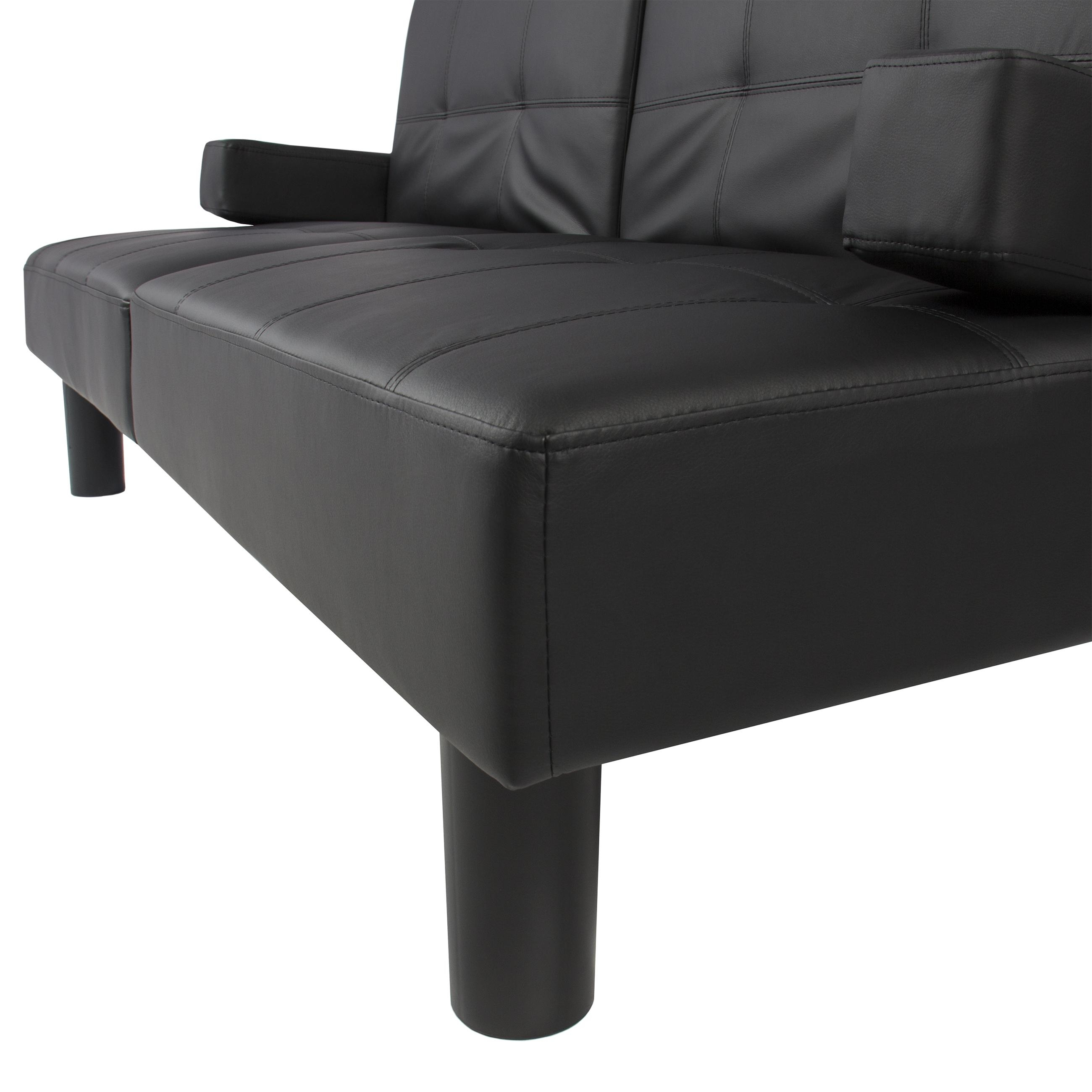 Leather Faux Fold Down Futon Sofa Bed Couch Sleeper Furniture Throughout Faux Leather Futon Sofas (Image 10 of 20)