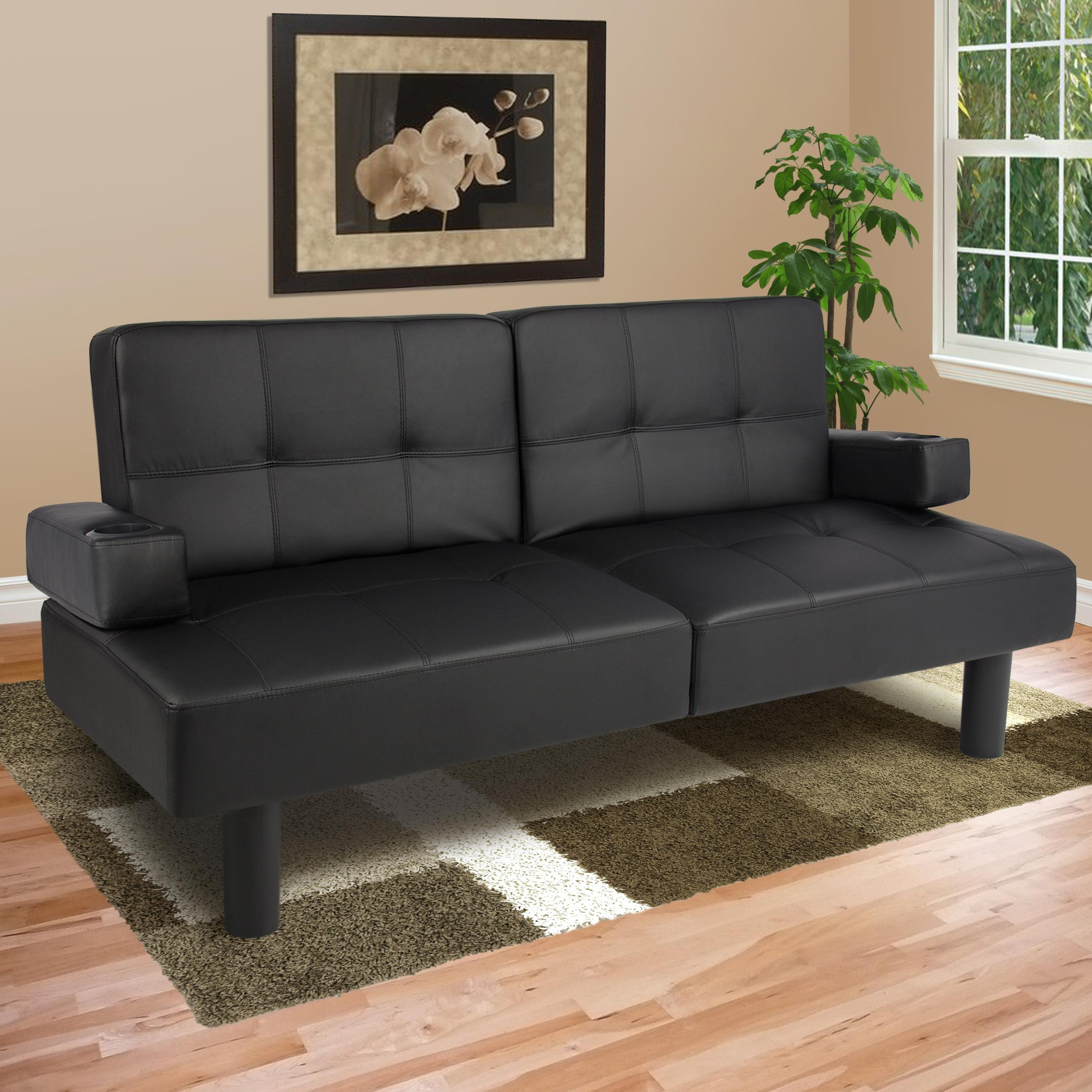 Leather Faux Fold Down Futon Sofa Bed Couch Sleeper Furniture Throughout Leather Fouton Sofas (Image 15 of 20)