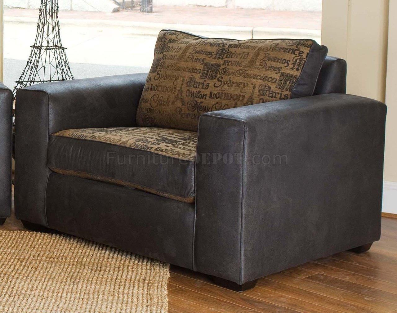 & Leather Modern Living Room Sofa & Large Chair Set Regarding Large Sofa Chairs (Image 1 of 20)