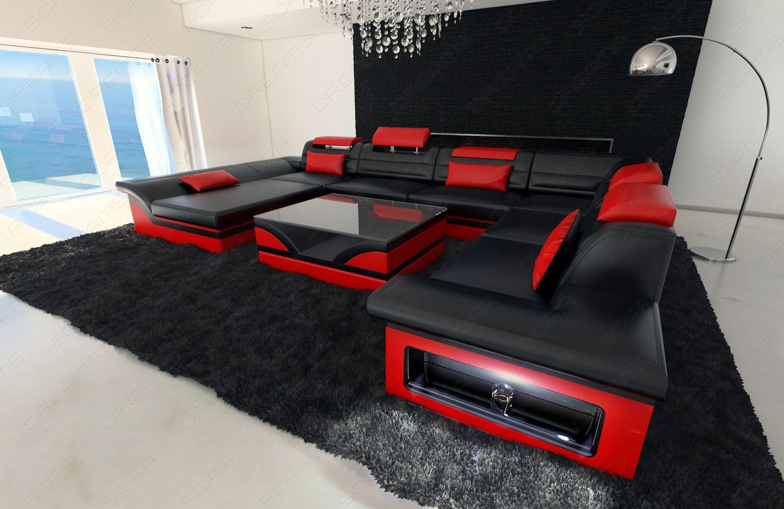 Leather Sectional Sofa Enzo Xxl Black Red | Ebay Within Red Black Sectional Sofa (Image 6 of 20)