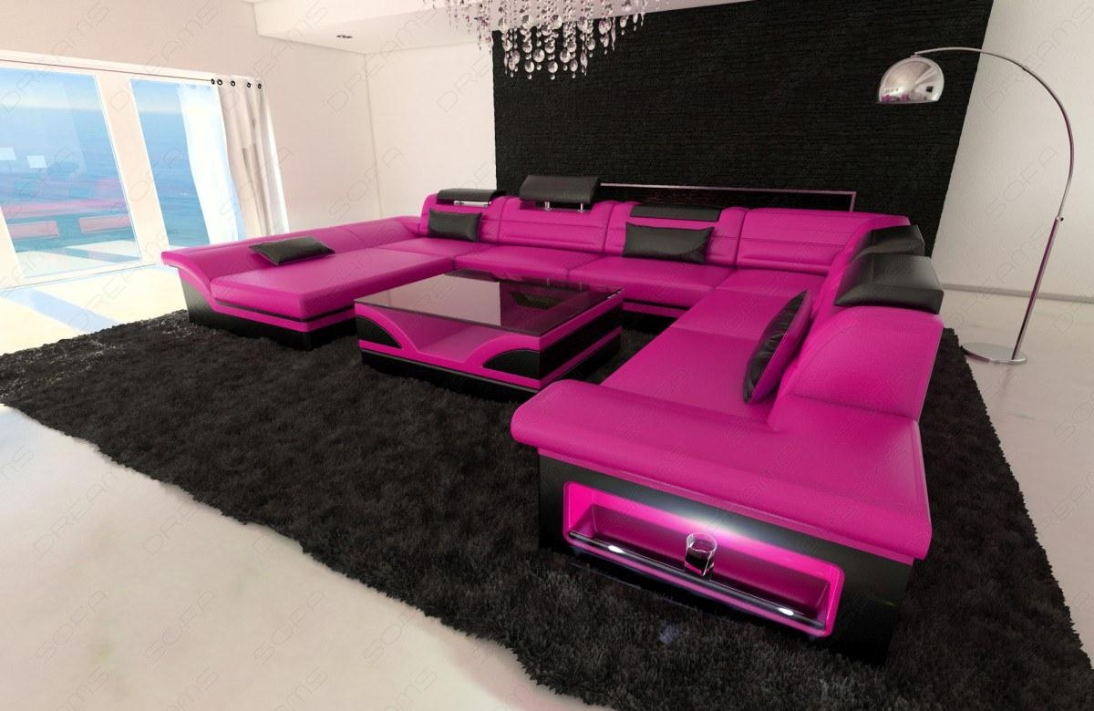 Leather Sectional Sofa Enzo Xxl Pink Black | Ebay Intended For Custom Leather Sectional (Photo 9 of 15)