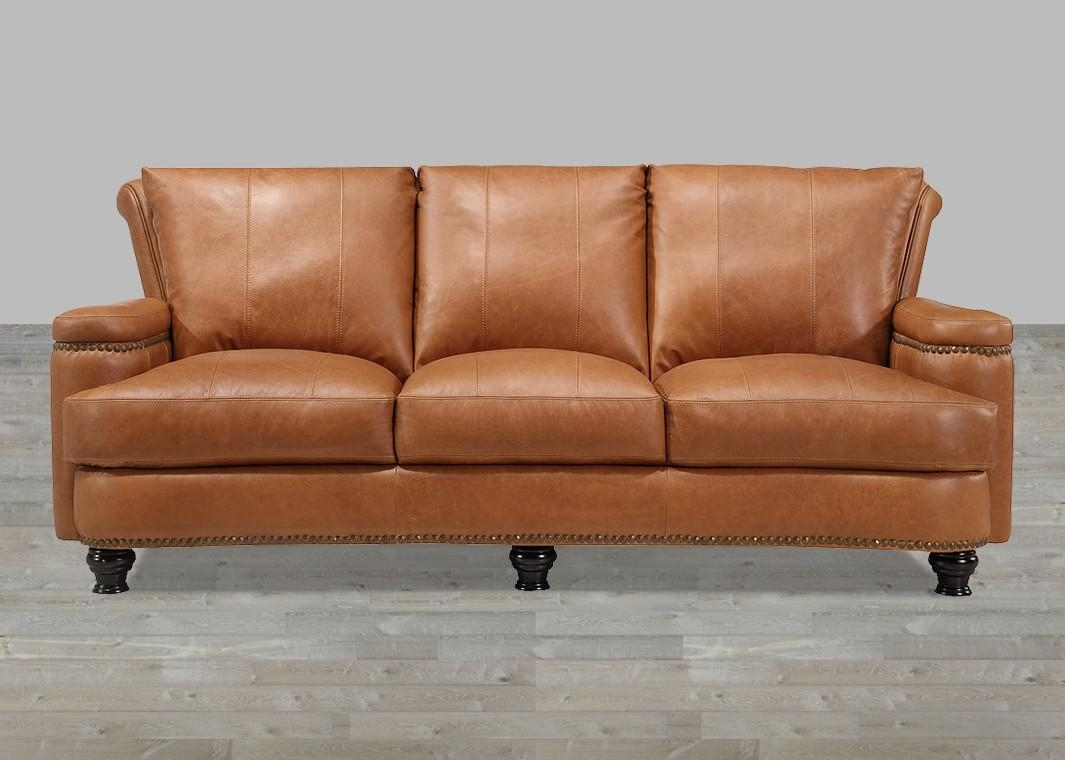 Leather Sofa Caramel Finish With Nailhead Trim Intended For Aniline Leather Sofas (View 8 of 20)