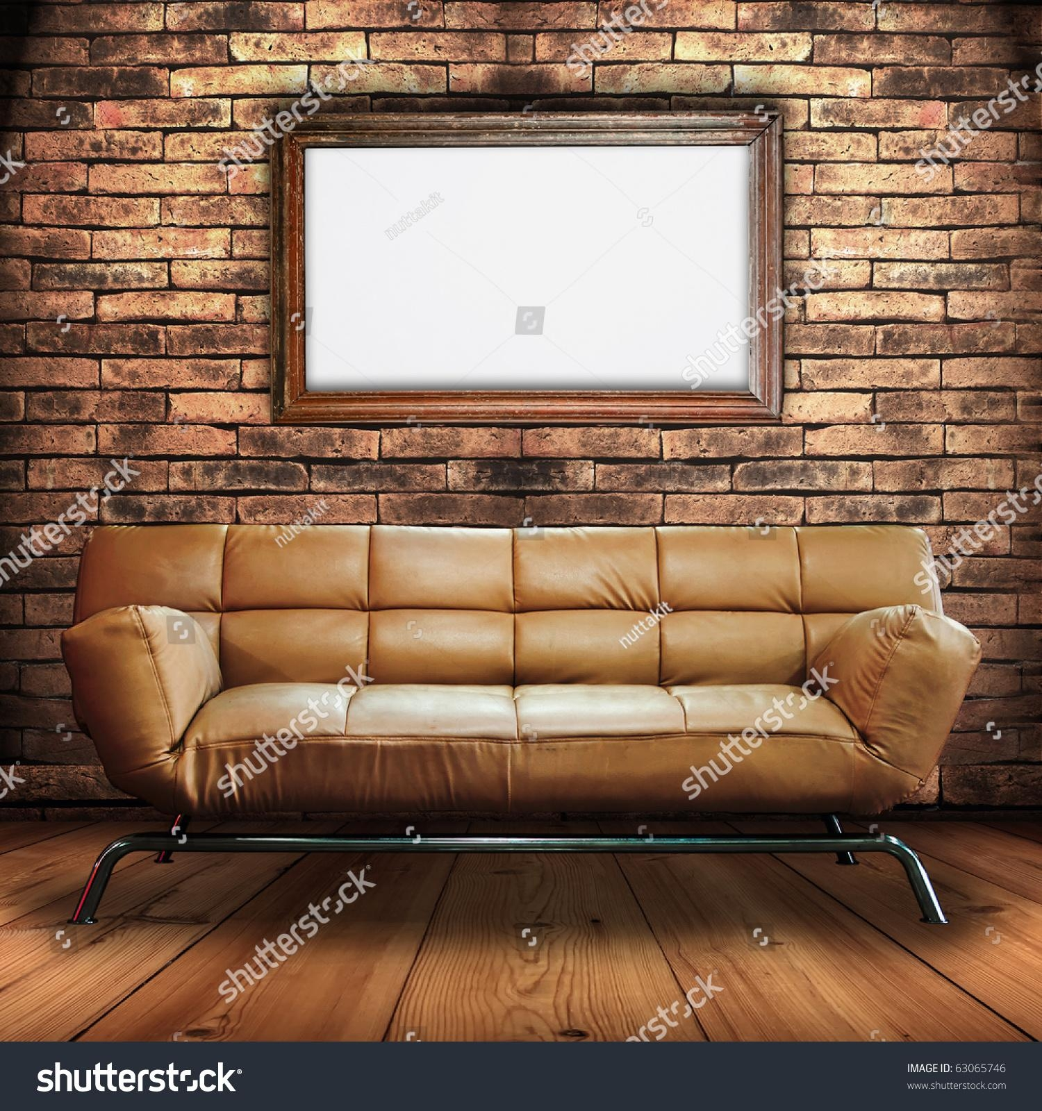 Leather Sofa On Wood Floor Wood Stock Photo 63065746 – Shutterstock In The Brick Leather Sofa (View 19 of 20)