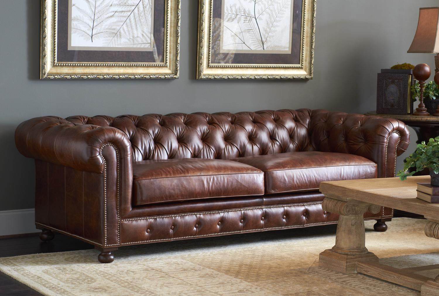 Leather Sofa Tufted Pertaining To Brown Tufted Sofas (Image 12 of 20)