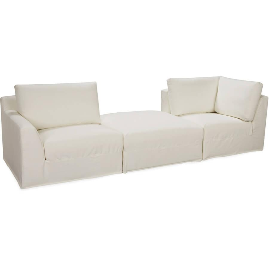 Lee Bermuda 3 Pc Sectional: Square Modular Outdoor Slipcovered Regarding Lee Industries Sectional (Image 10 of 20)