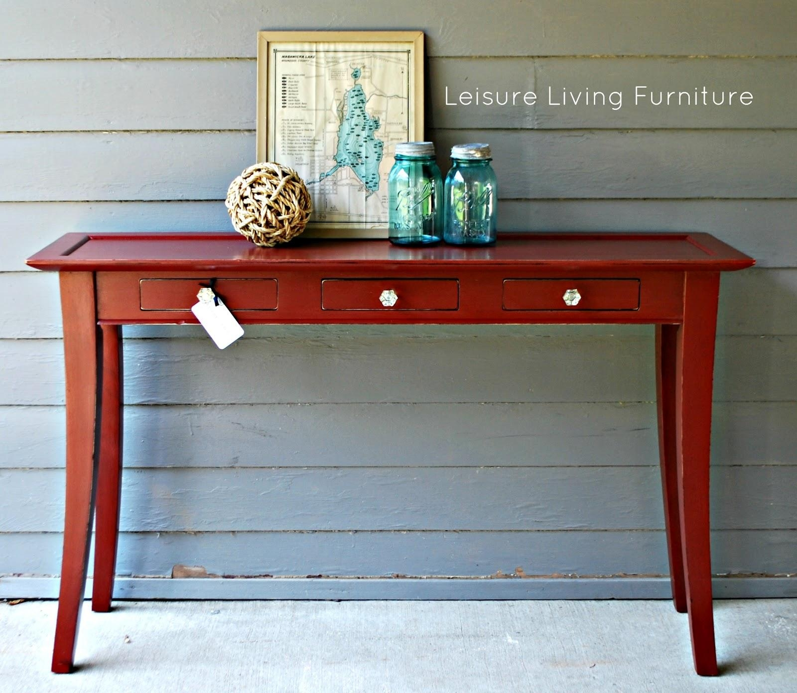 Leisure Living: Primer Red Sofa Table Intended For Red Sofa Tables (Image 7 of 20)