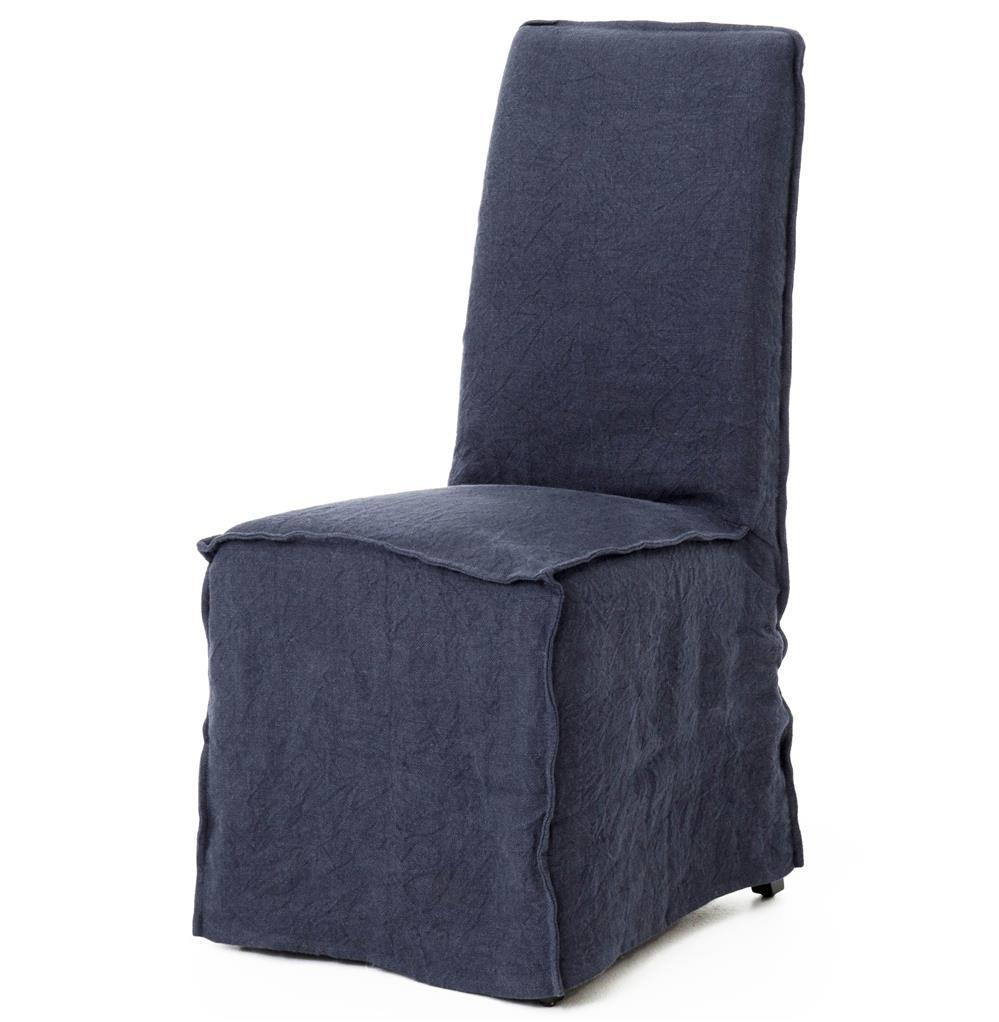 Lena Modern Classic Navy Blue Wrinkle Linen Slipcover Dining Chair Within Navy Blue Slipcovers (Image 8 of 20)