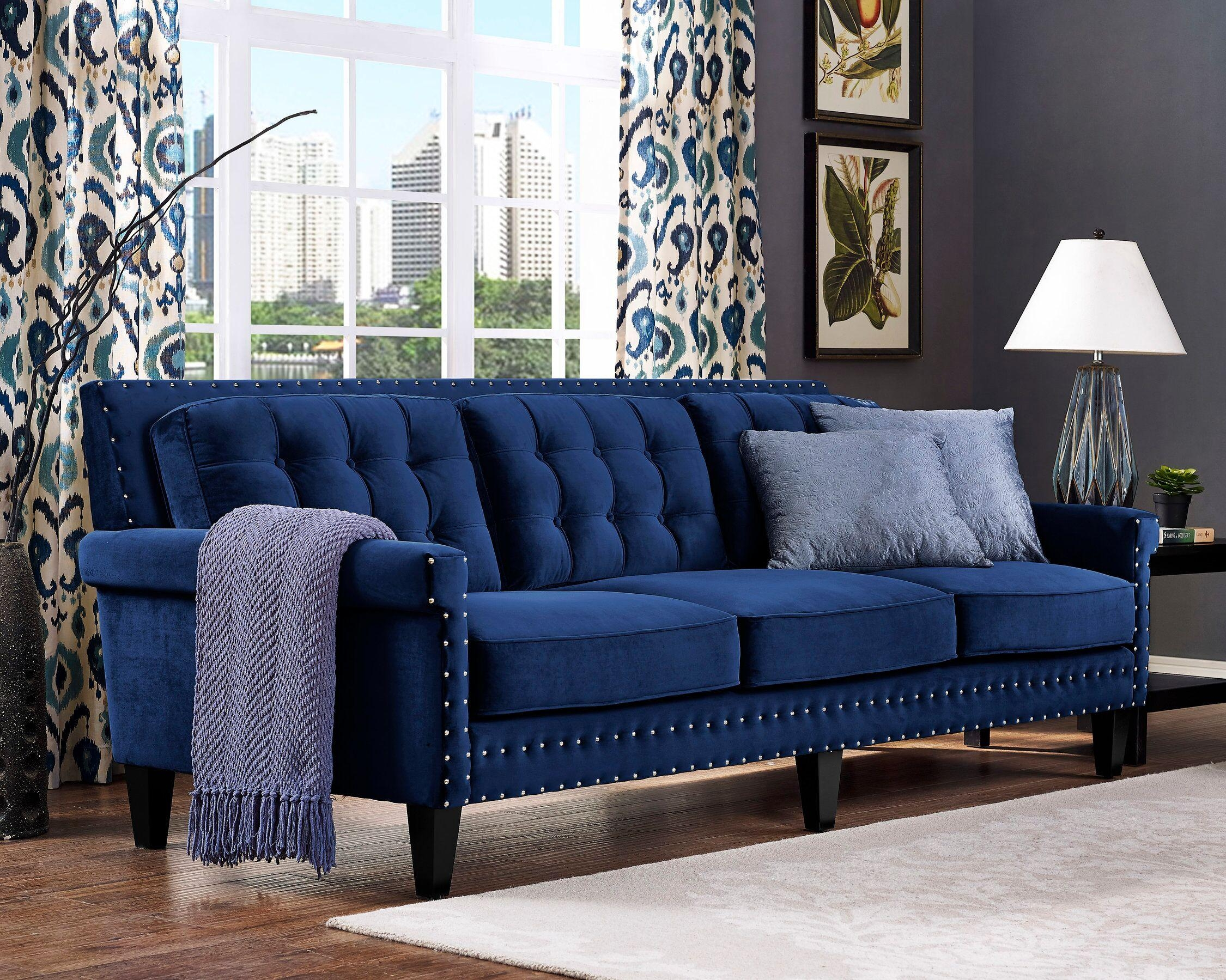 Light Blue Velvet Tufted Sofa Nail Head Accents Intended For Blue Velvet Tufted Sofas (Image 14 of 20)