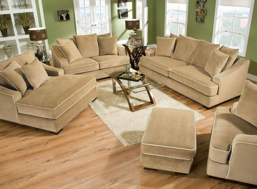 Light Brown Velvet Depp Sectional Sofa With Ottoman And Cushions In Sectional Sofa With Oversized Ottoman (Photo 14 of 20)