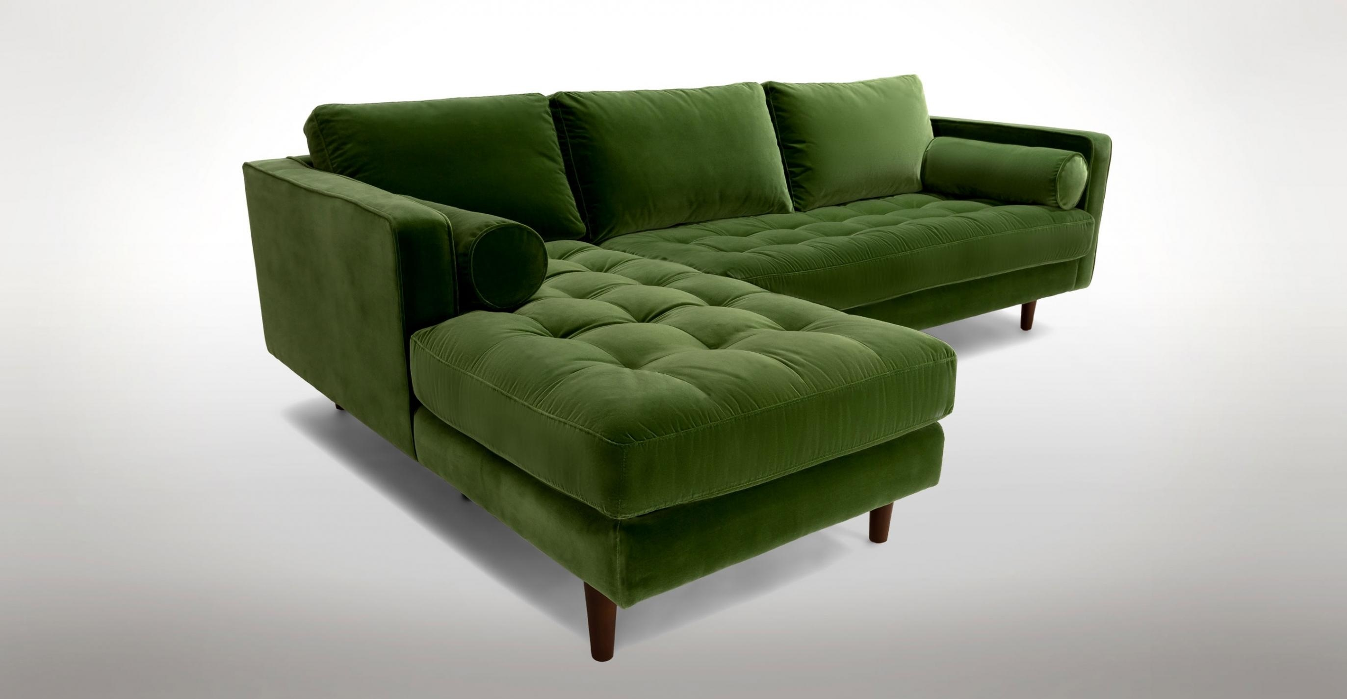 Likable Olive Green Fabric Sectional Sofa With Chaise And With Throughout Green Sectional Sofa With Chaise (Image 10 of 15)