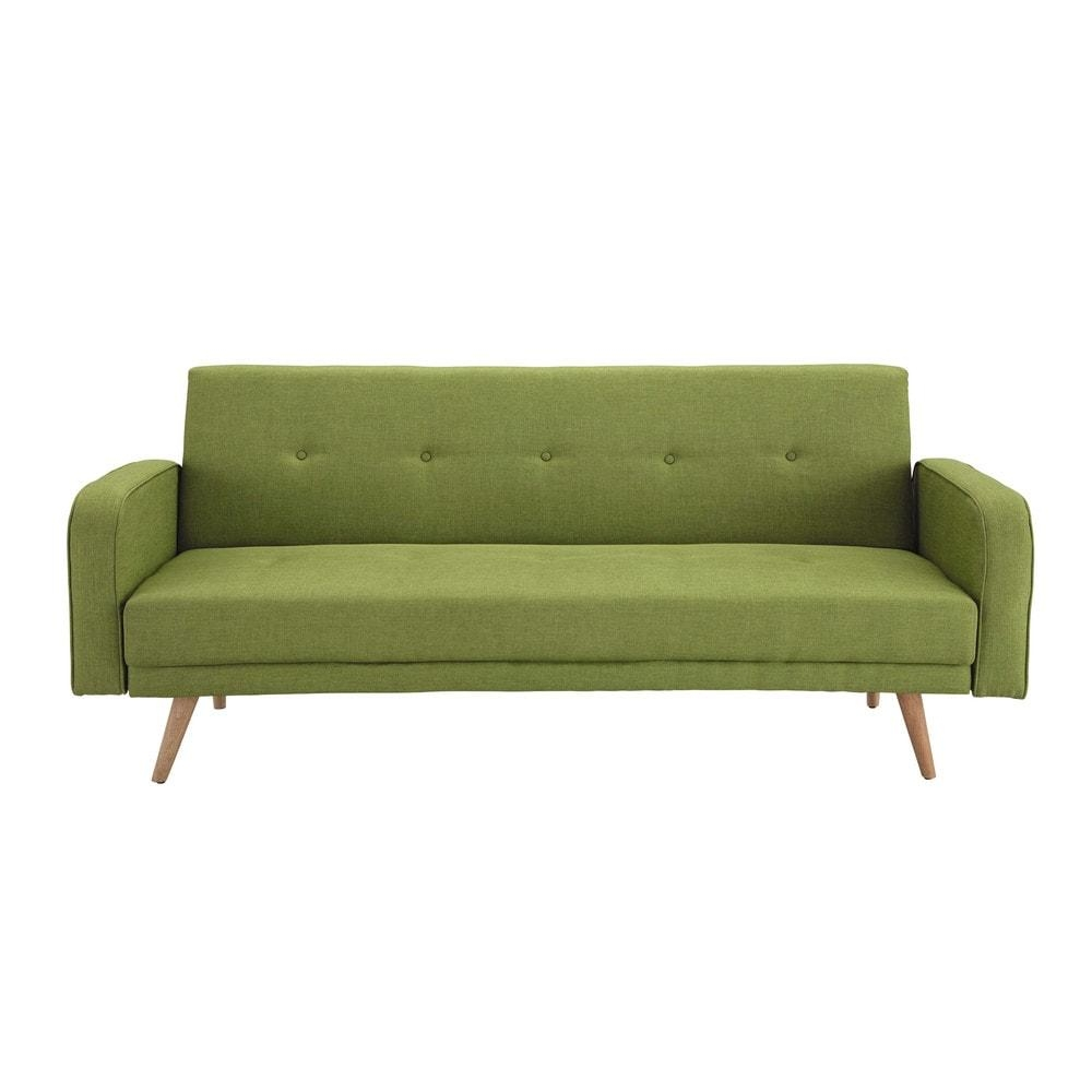 Lime Green 3 Seater Clic Clac Sofa Bed Broadway | Maisons Du Monde In Clic Clac Sofa Beds (Image 13 of 20)